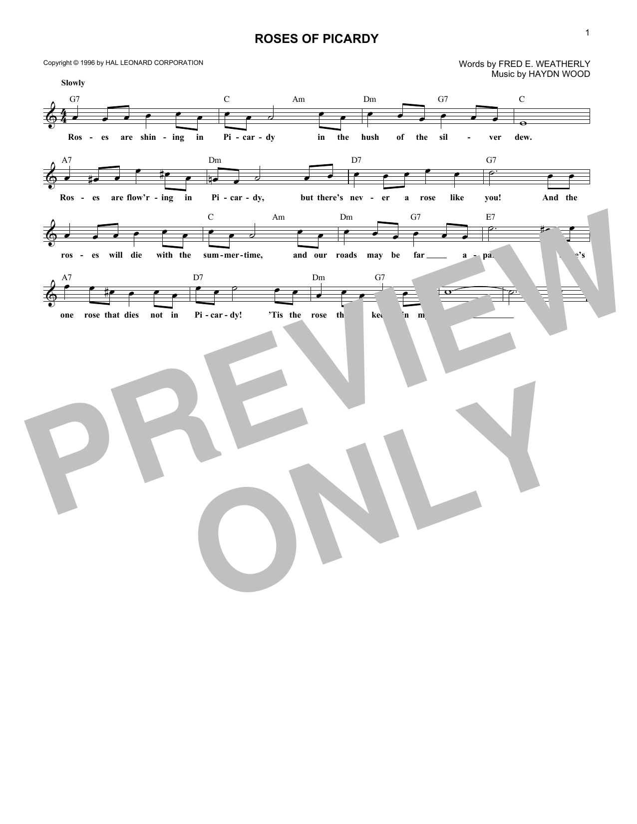 Roses Of Picardy (Lead Sheet / Fake Book)
