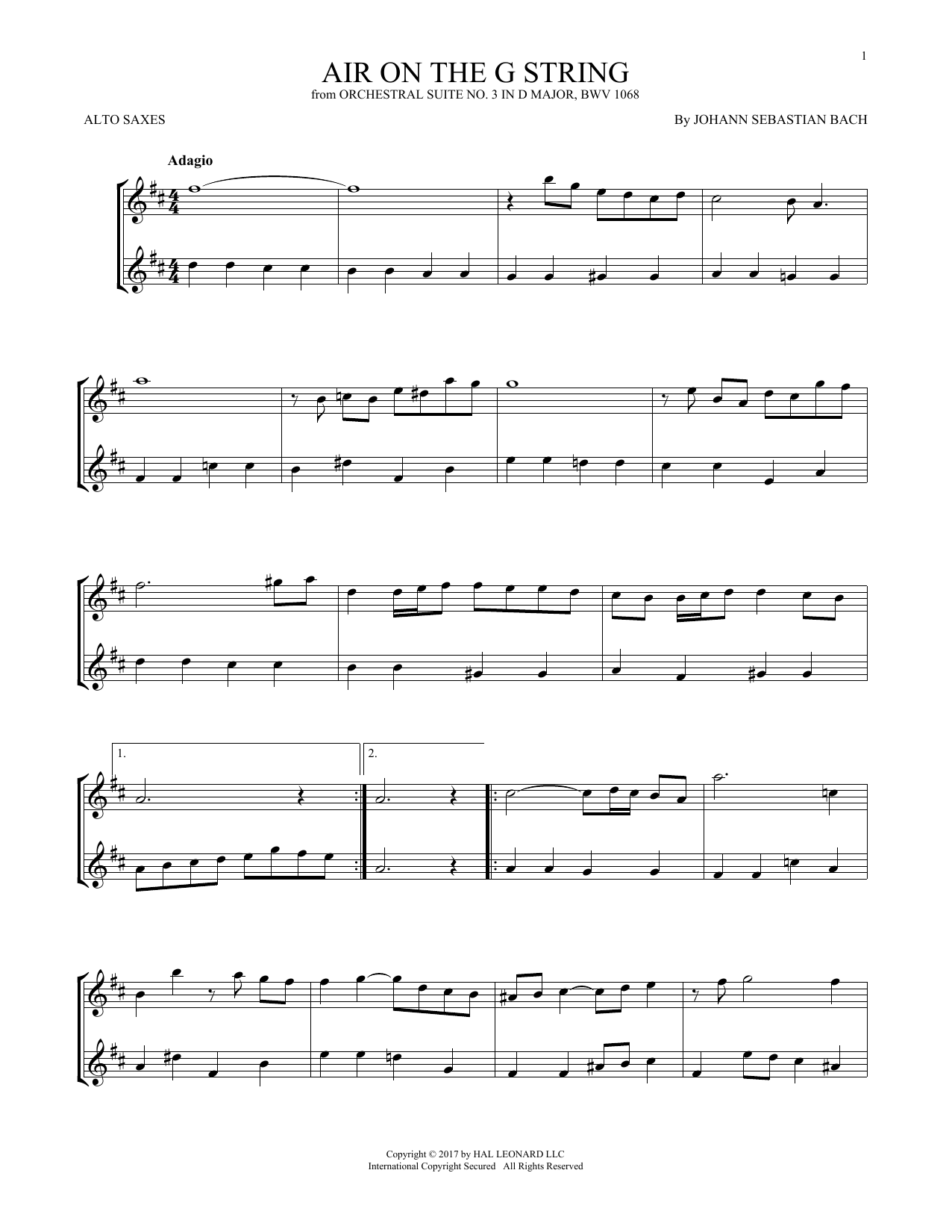 Air (Air On The G String) (Alto Sax Duet)