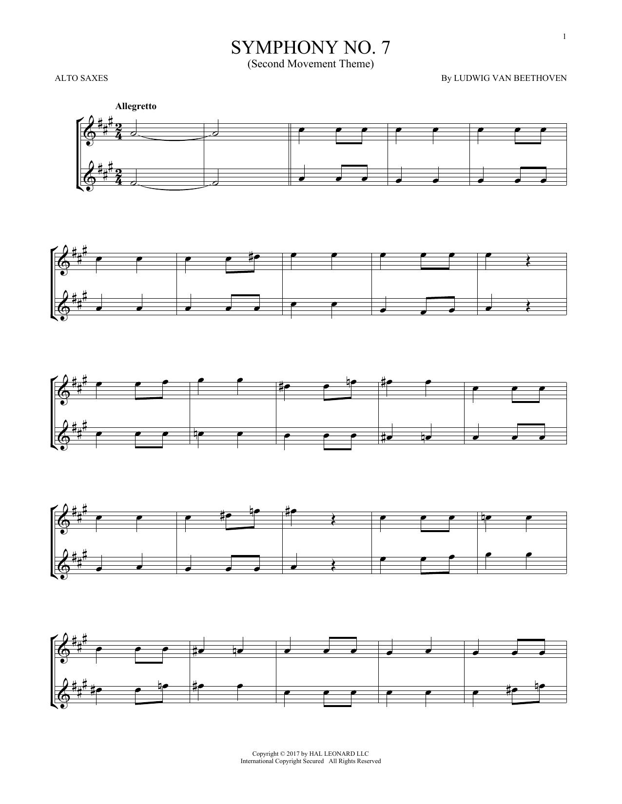 Symphony No. 7 In A Major, Second Movement (Allegretto) (Alto Sax Duet)