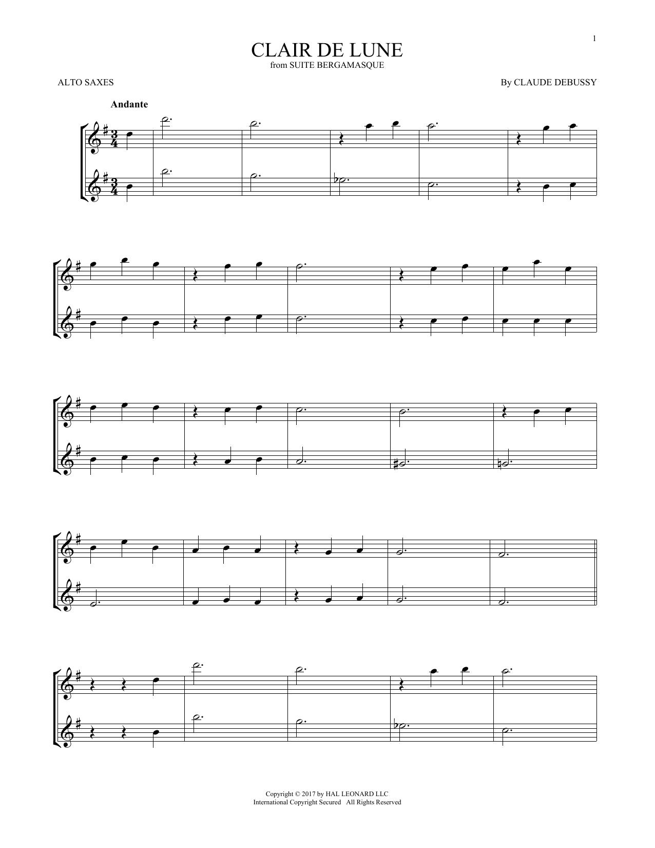 Clair De Lune (Alto Sax Duet)
