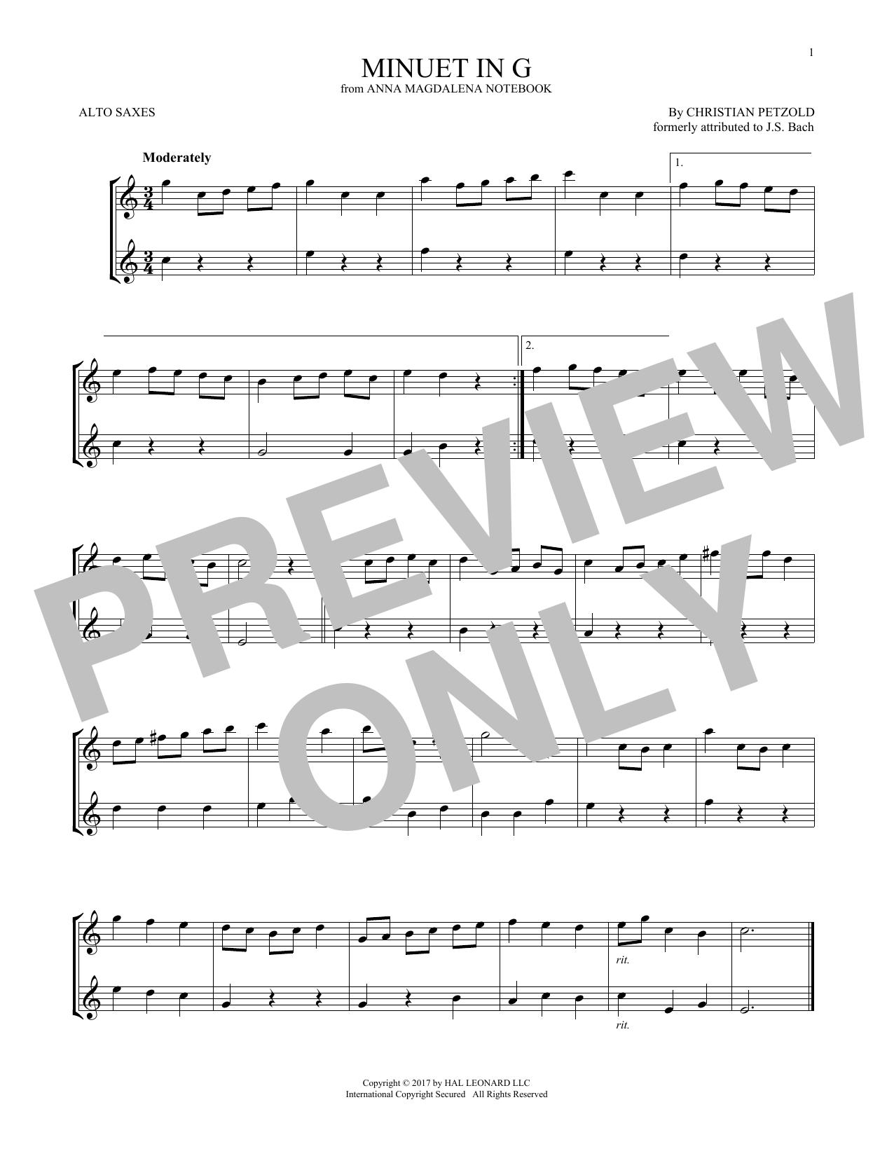 Minuet In G Major, BWV Anh. 114 (Alto Sax Duet)