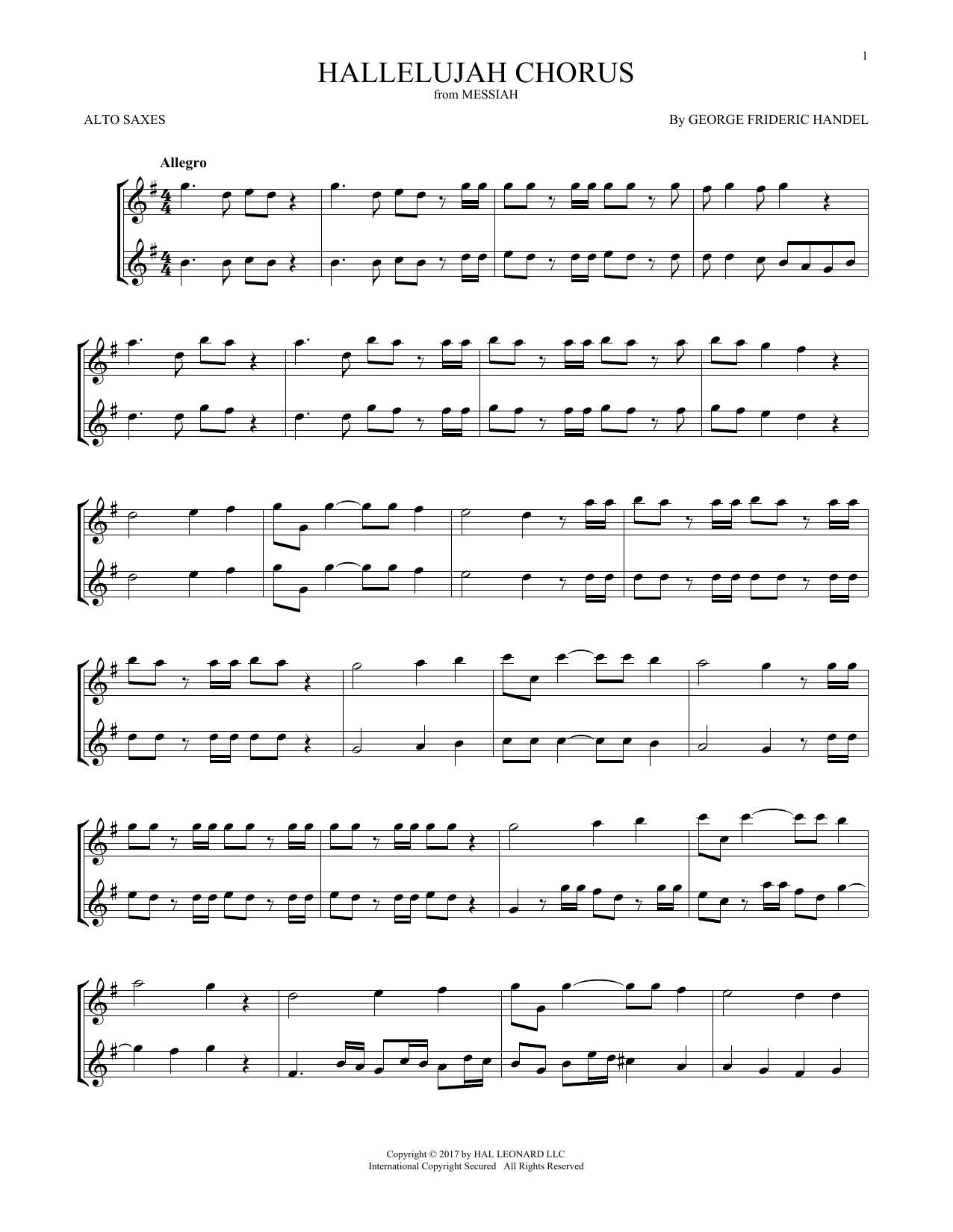 Hallelujah Chorus (Alto Sax Duet)