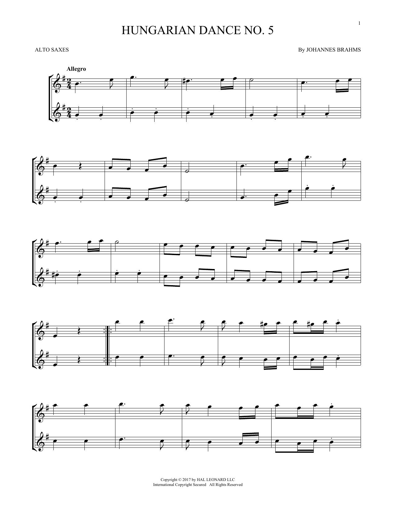 Hungarian Dance No. 5 (Alto Sax Duet)