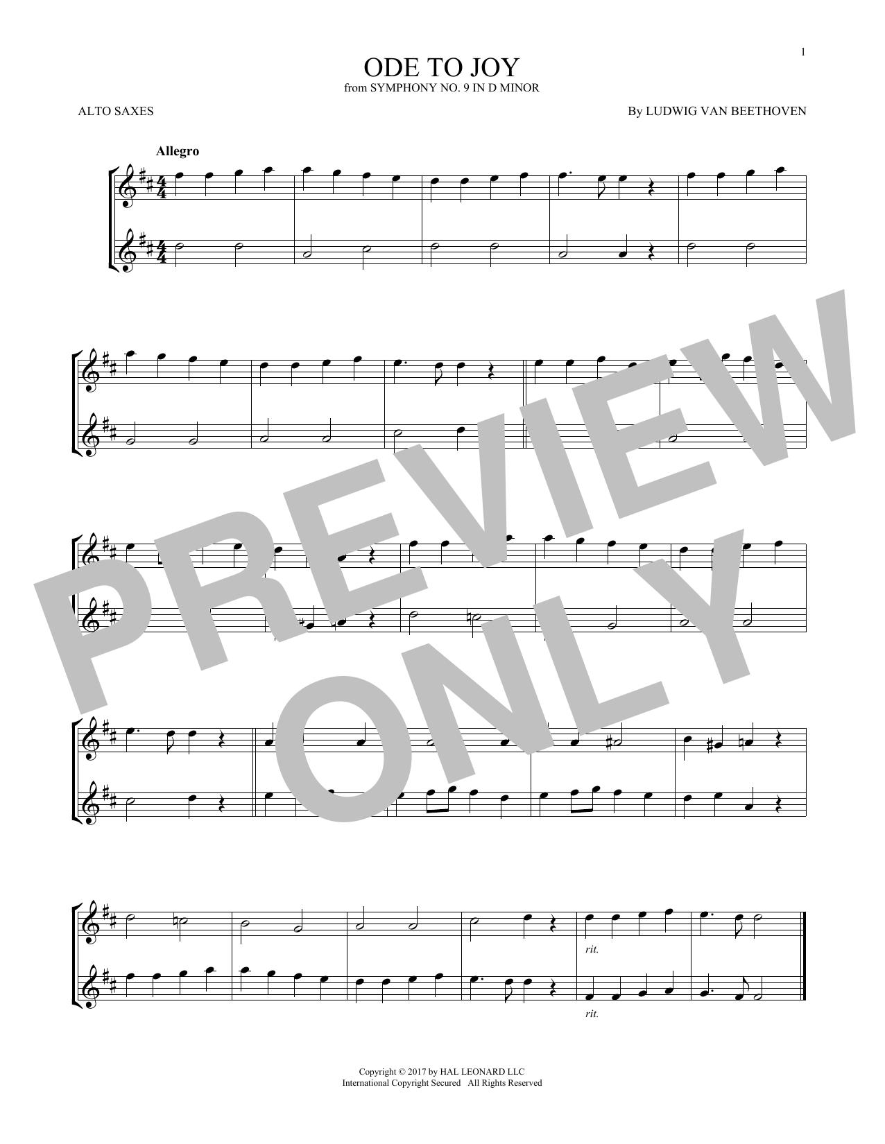 Ode To Joy (Alto Sax Duet)