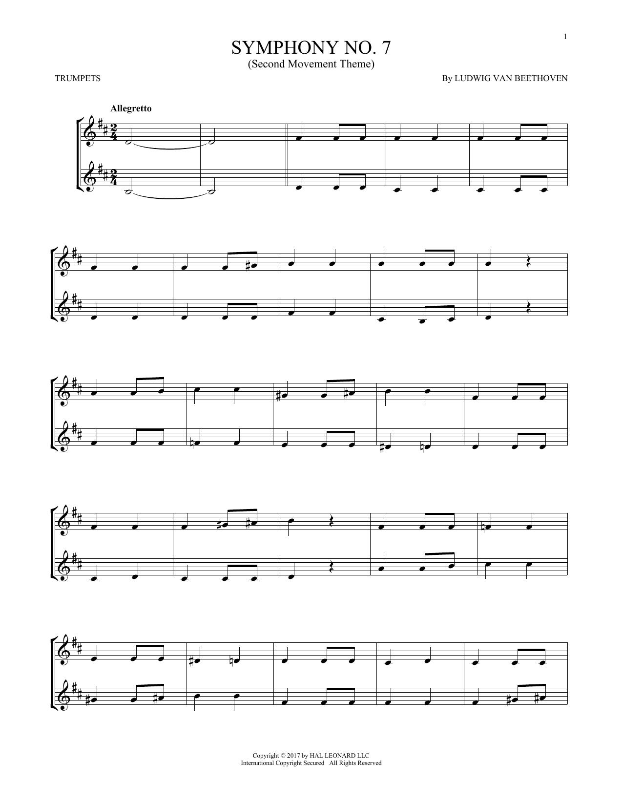 Symphony No. 7 In A Major, Second Movement (Allegretto) (Trumpet Duet)