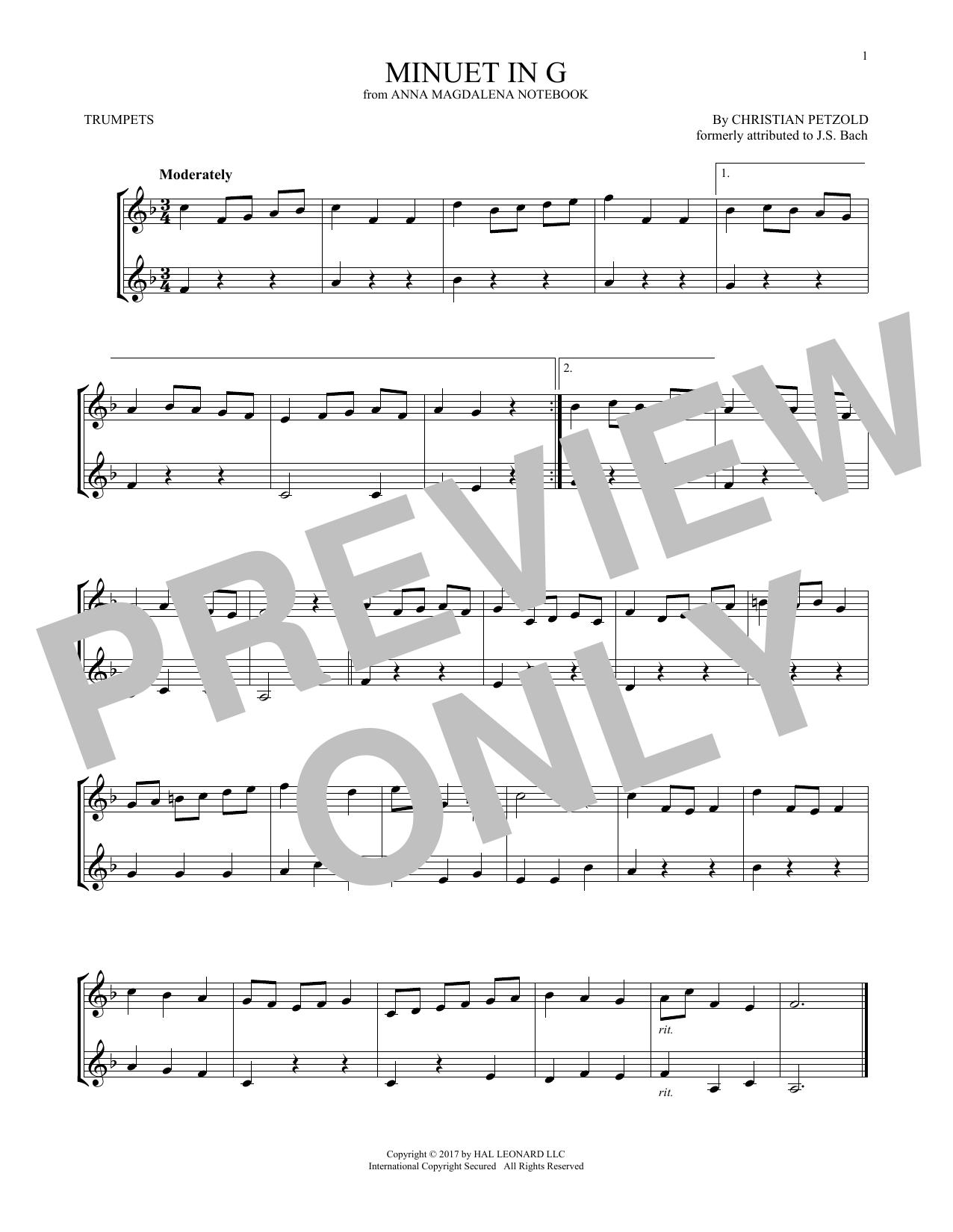 Minuet In G Major, BWV Anh. 114 (Trumpet Duet)
