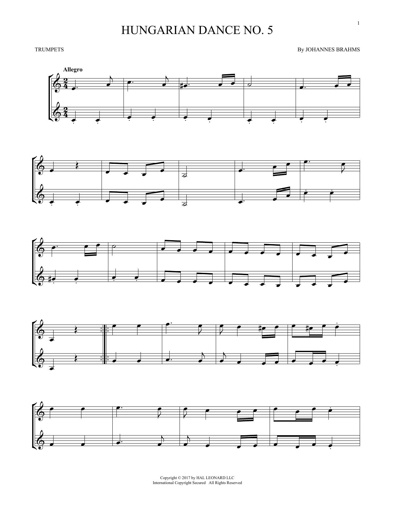 Hungarian Dance No. 5 (Trumpet Duet)