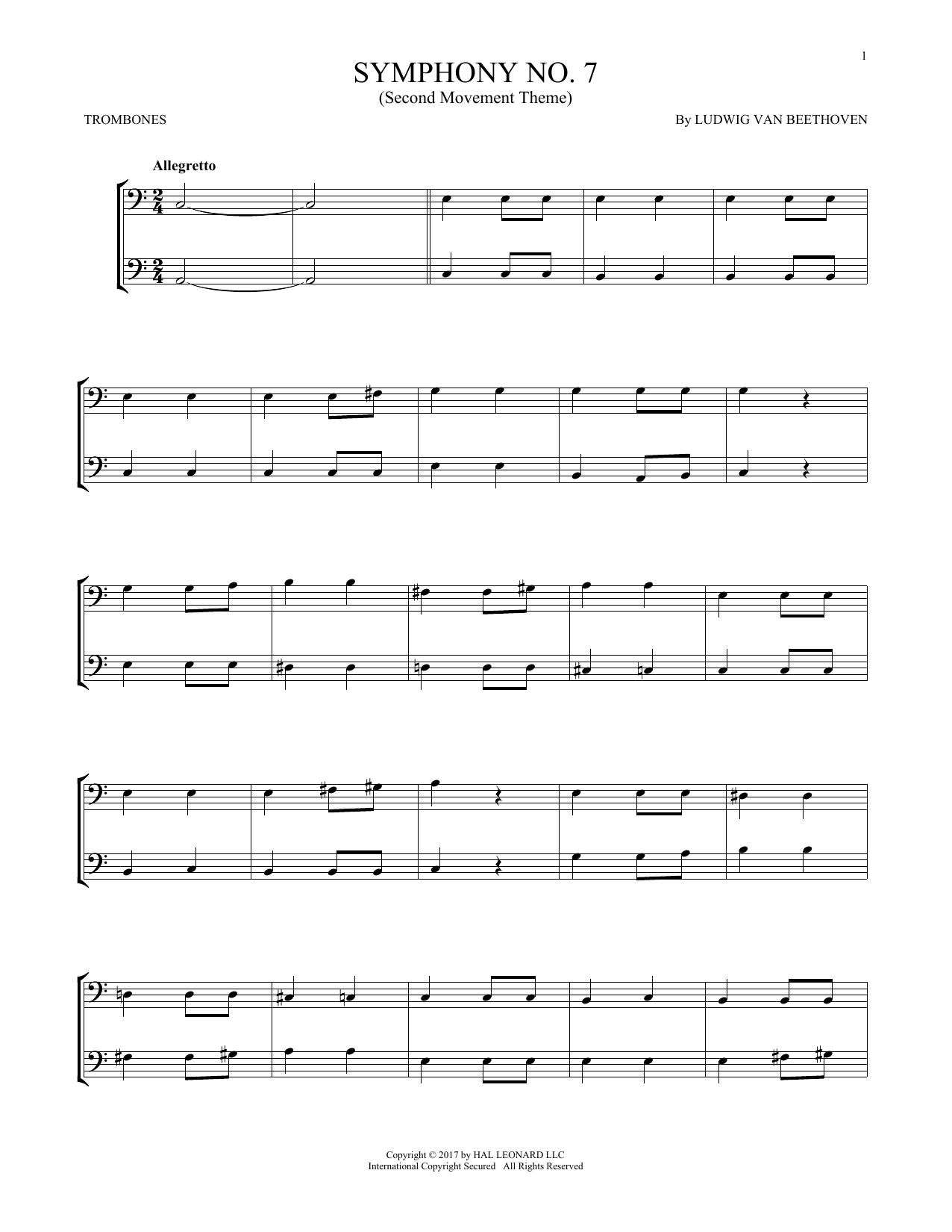 Symphony No. 7 In A Major, Second Movement (Allegretto) (Trombone Duet)