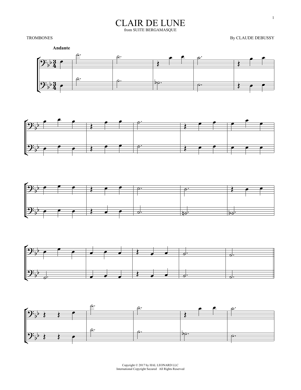 Clair De Lune (Trombone Duet)