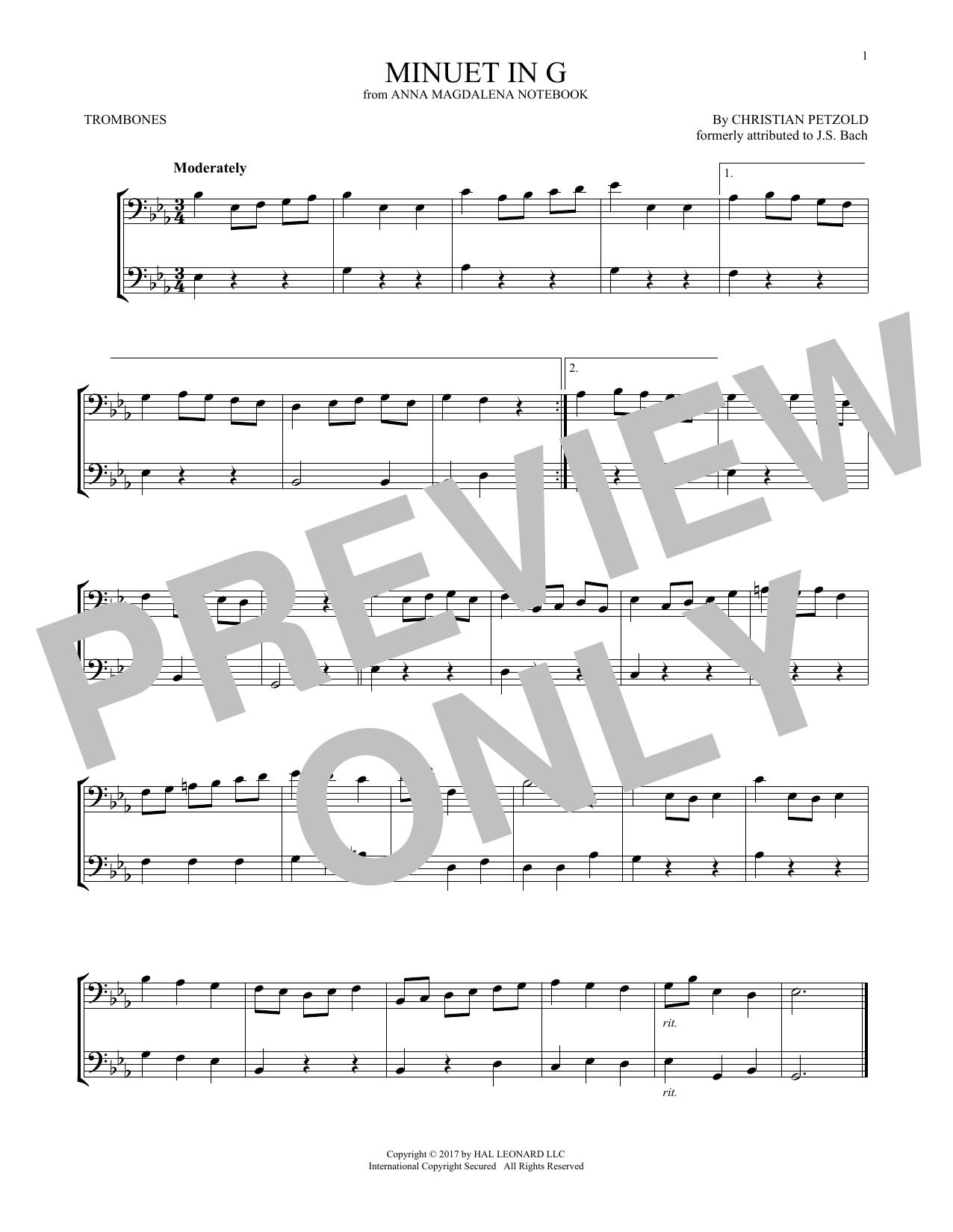 Minuet In G Major Bwv Anh 114 Trombone Duet Print Sheet Music