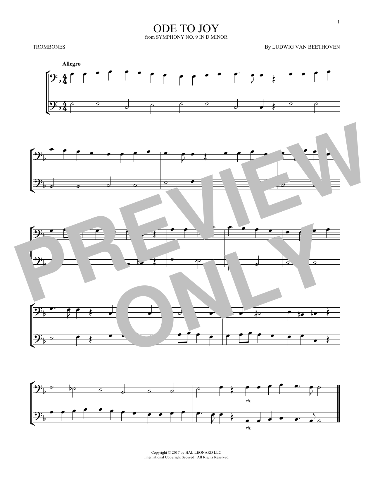 Ode To Joy (Trombone Duet)