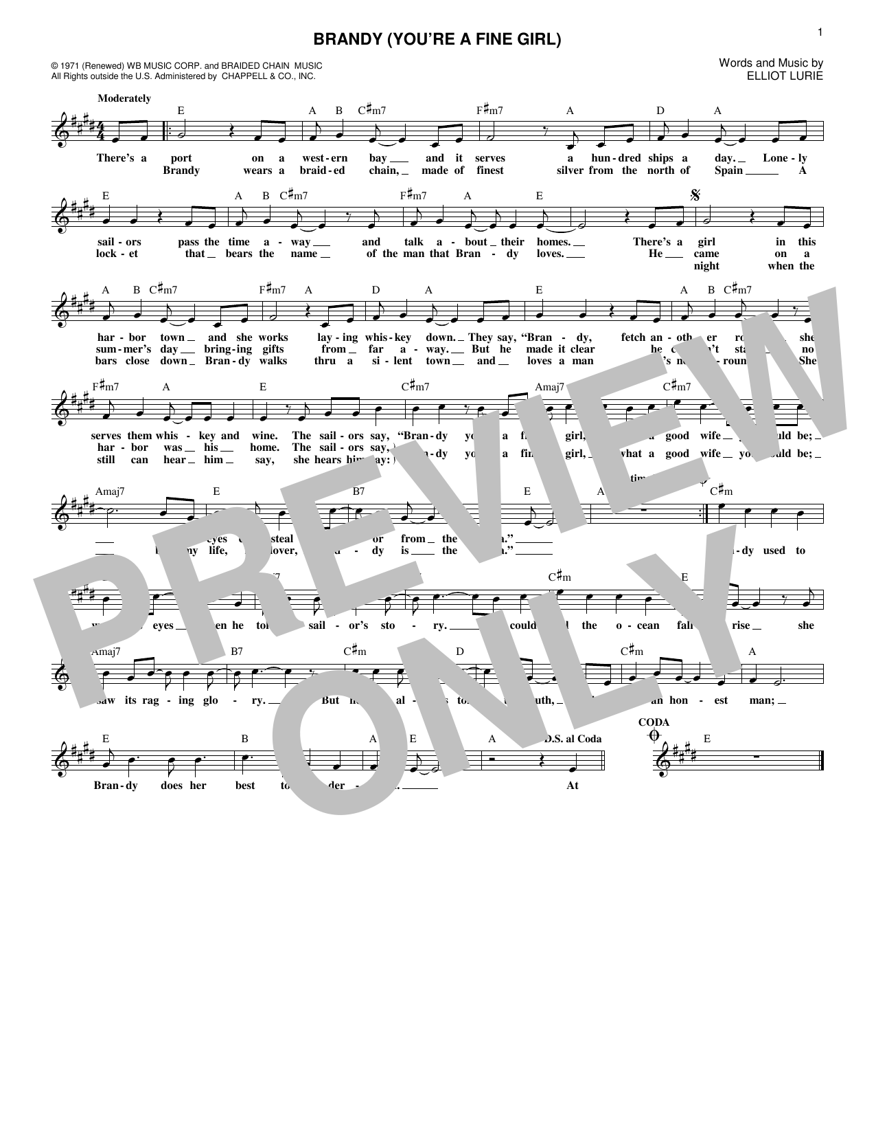 Brandy (You're A Fine Girl) Sheet Music