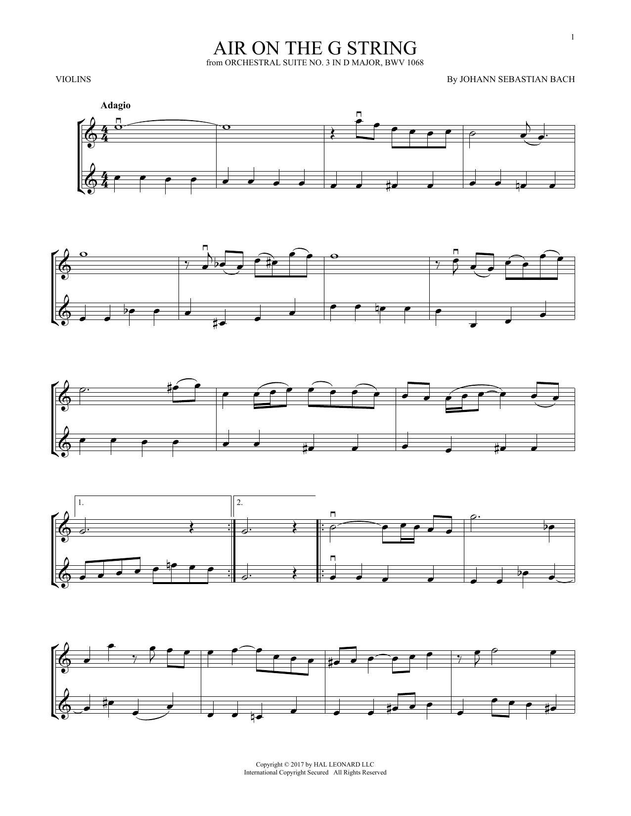 Air (Air On The G String) (Violin Duet)