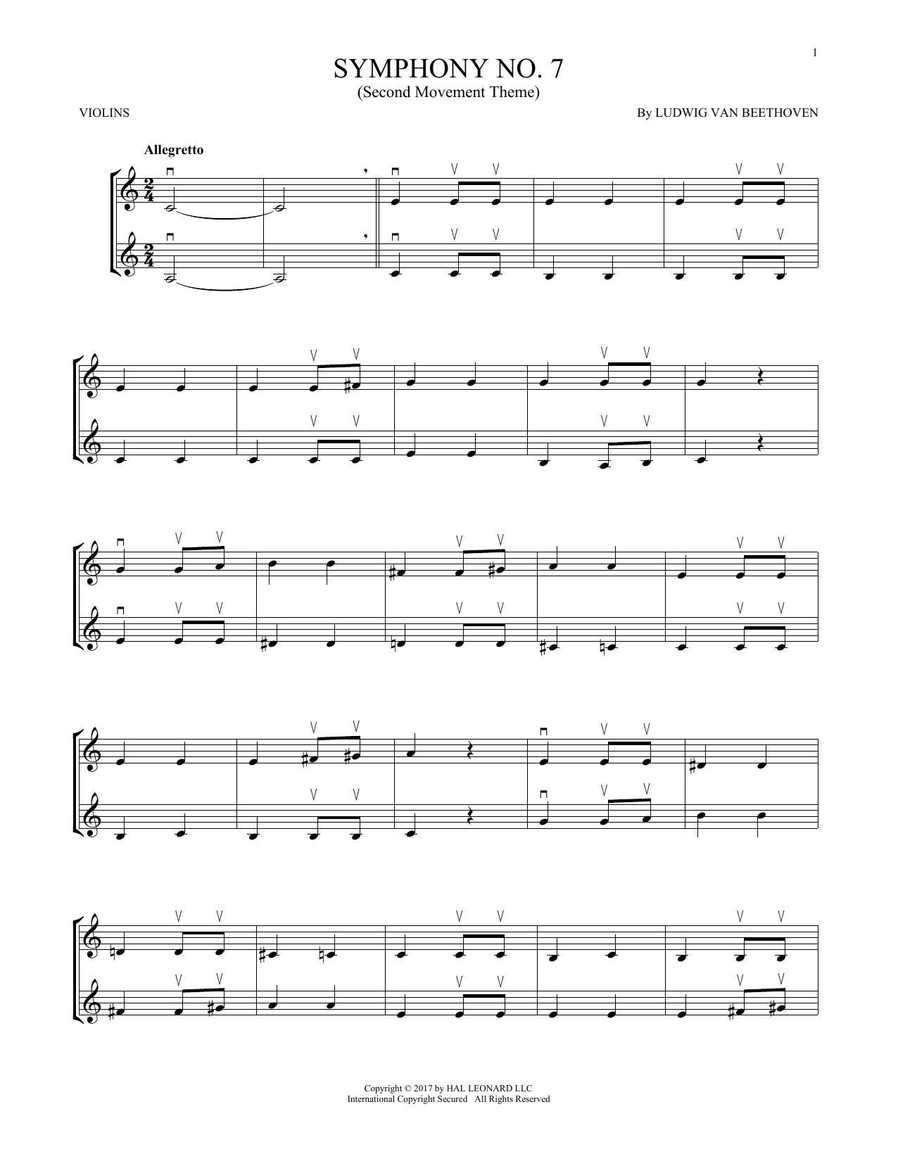 Symphony No. 7 In A Major, Second Movement (Allegretto) (Violin Duet)