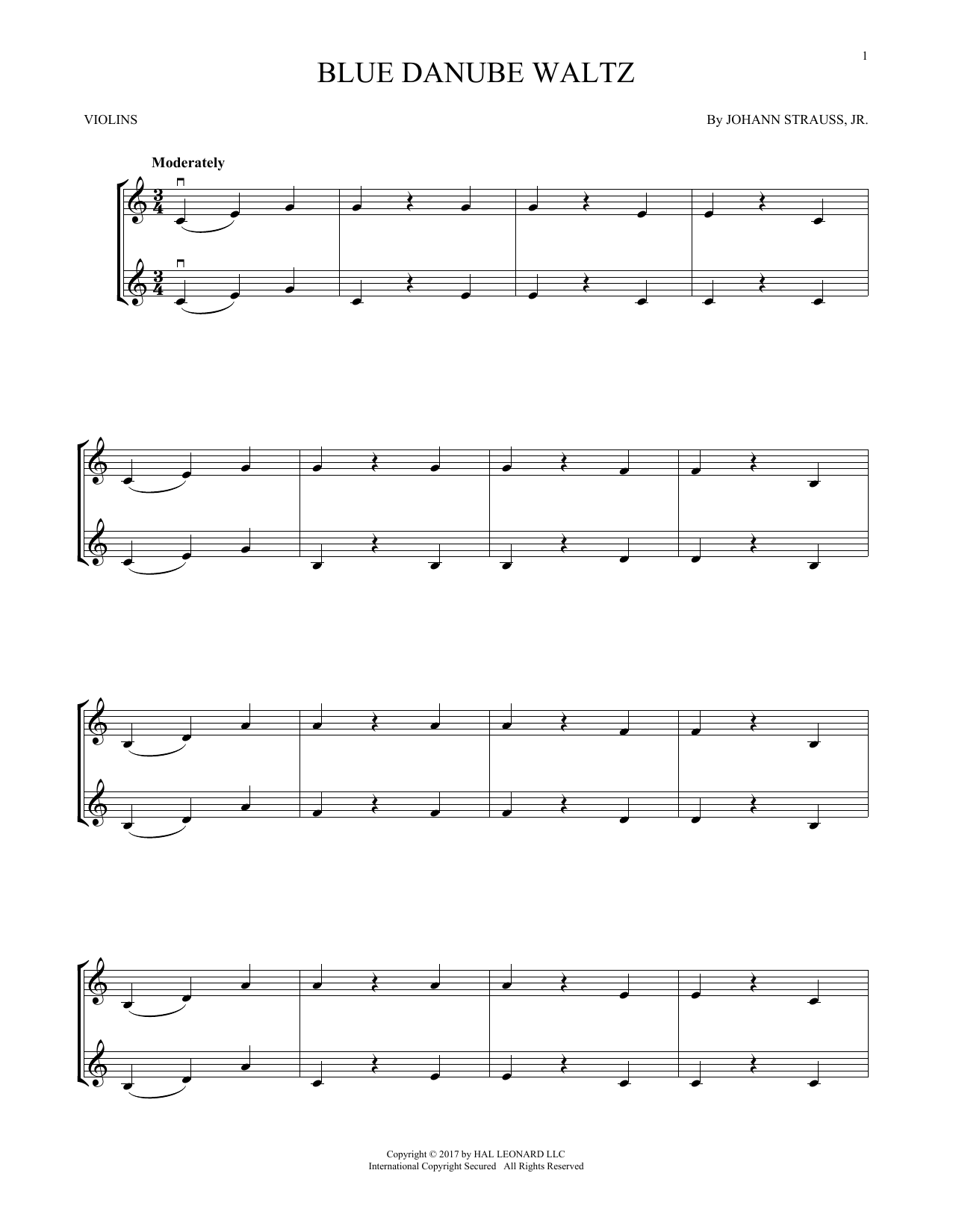 The Beautiful Blue Danube, Op. 314 (Violin Duet)