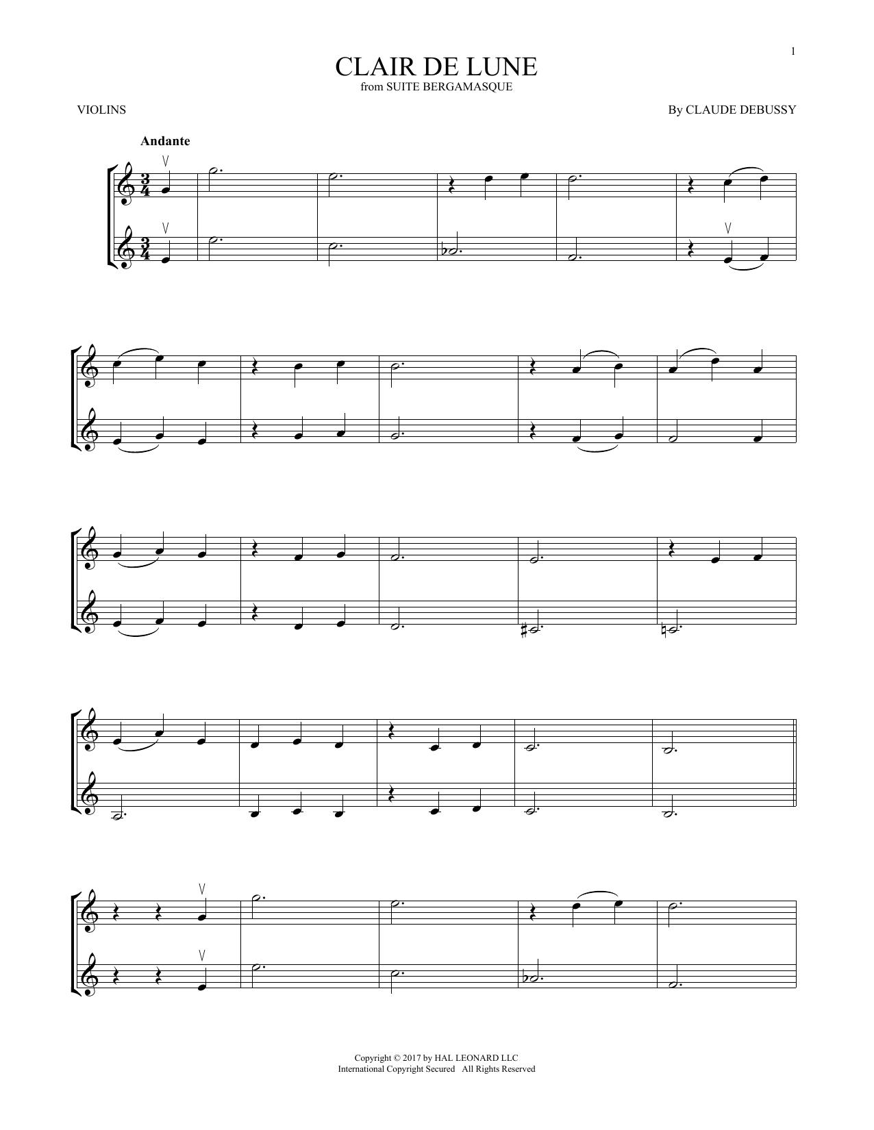 Clair De Lune (Violin Duet)