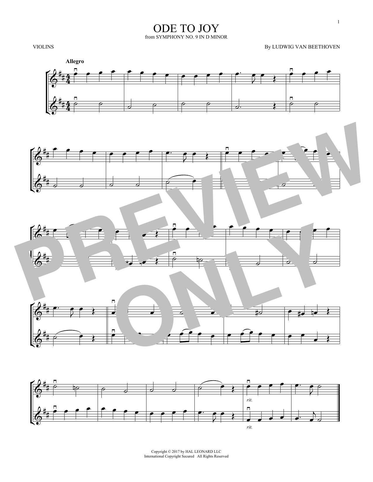 Ode To Joy (Violin Duet)