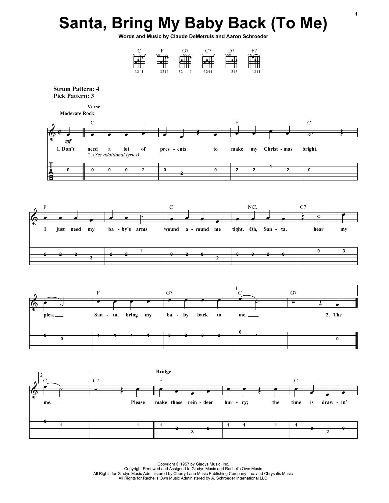 Santa, Bring My Baby Back (To Me) (Easy Guitar Tab)