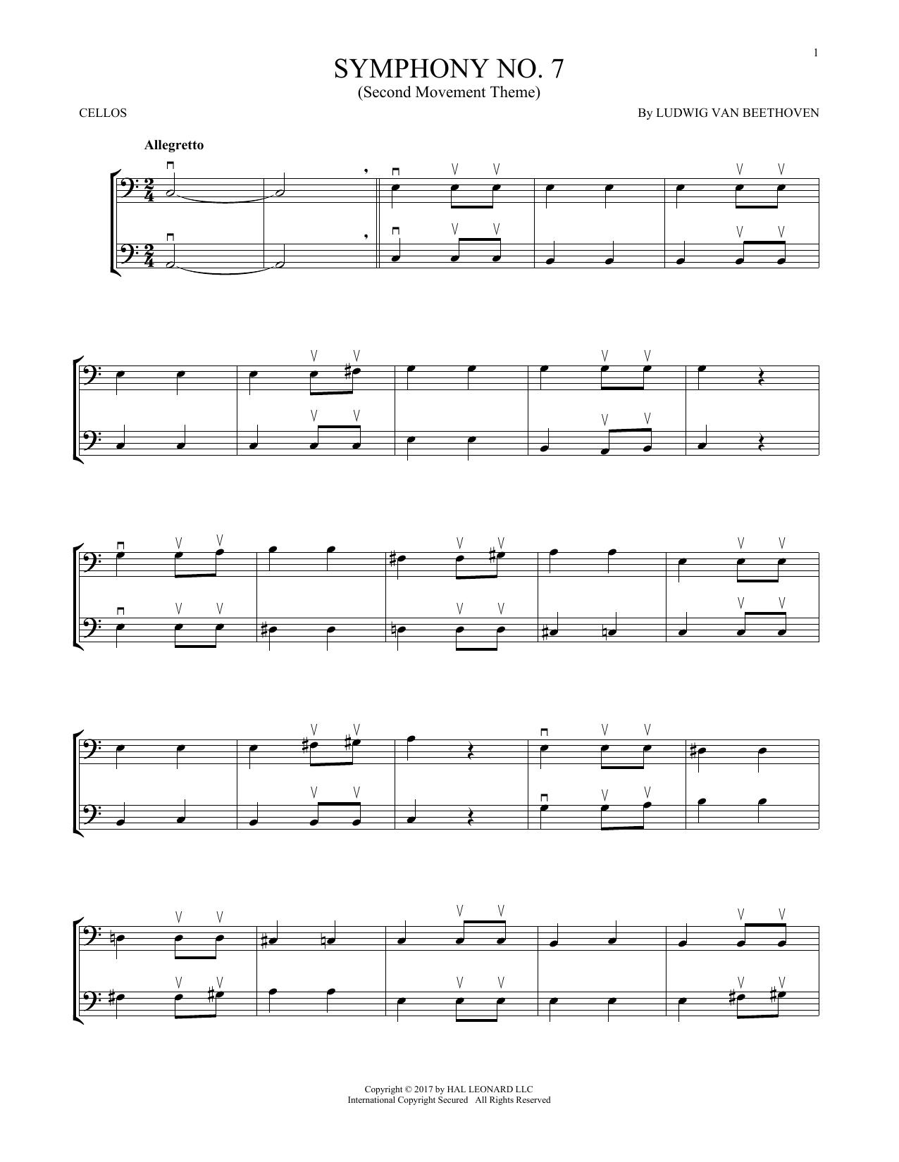 Symphony No. 7 In A Major, Second Movement (Allegretto) (Cello Duet)
