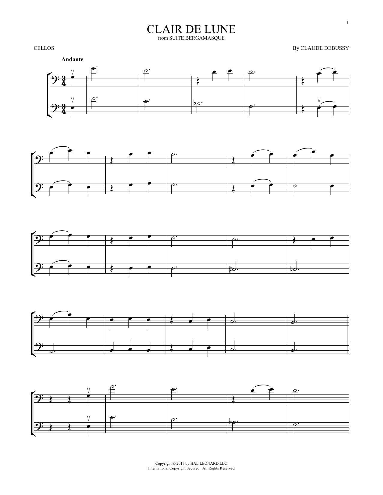 Clair De Lune (Cello Duet)