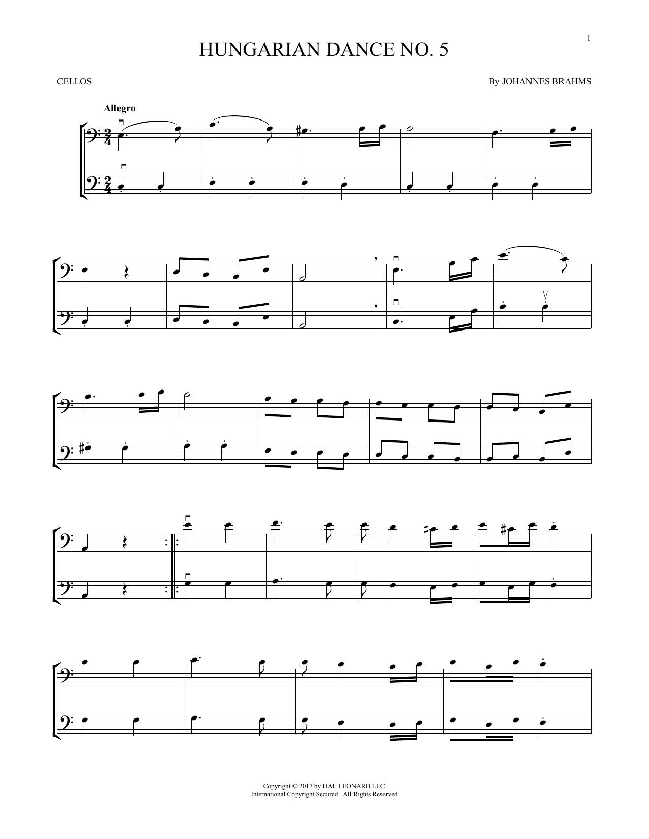 Hungarian Dance No. 5 (Cello Duet)