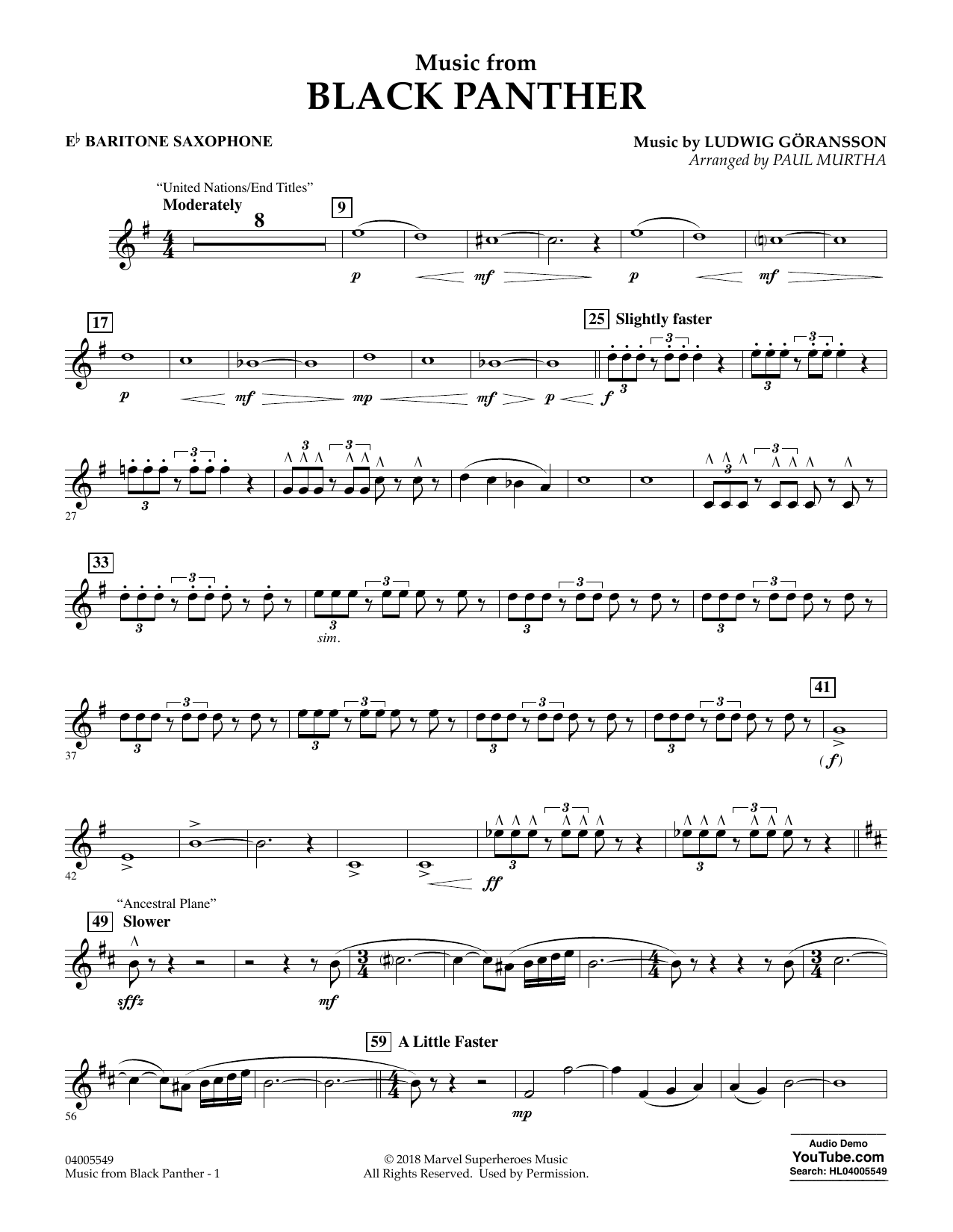 """Music from """"Black Panther"""" - Eb Baritone Saxophone (Concert Band)"""