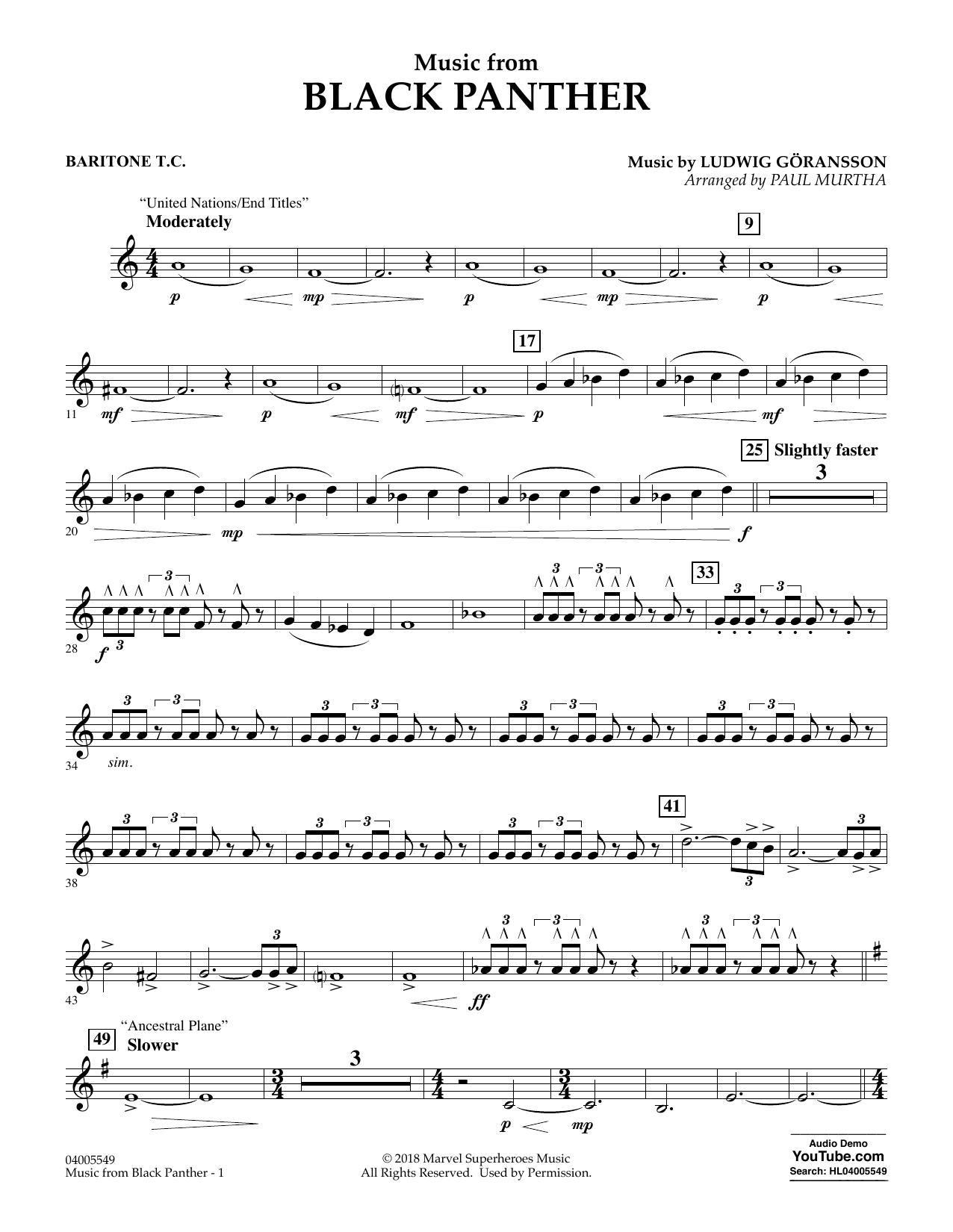 """Music from """"Black Panther"""" - Baritone T.C. (Concert Band)"""