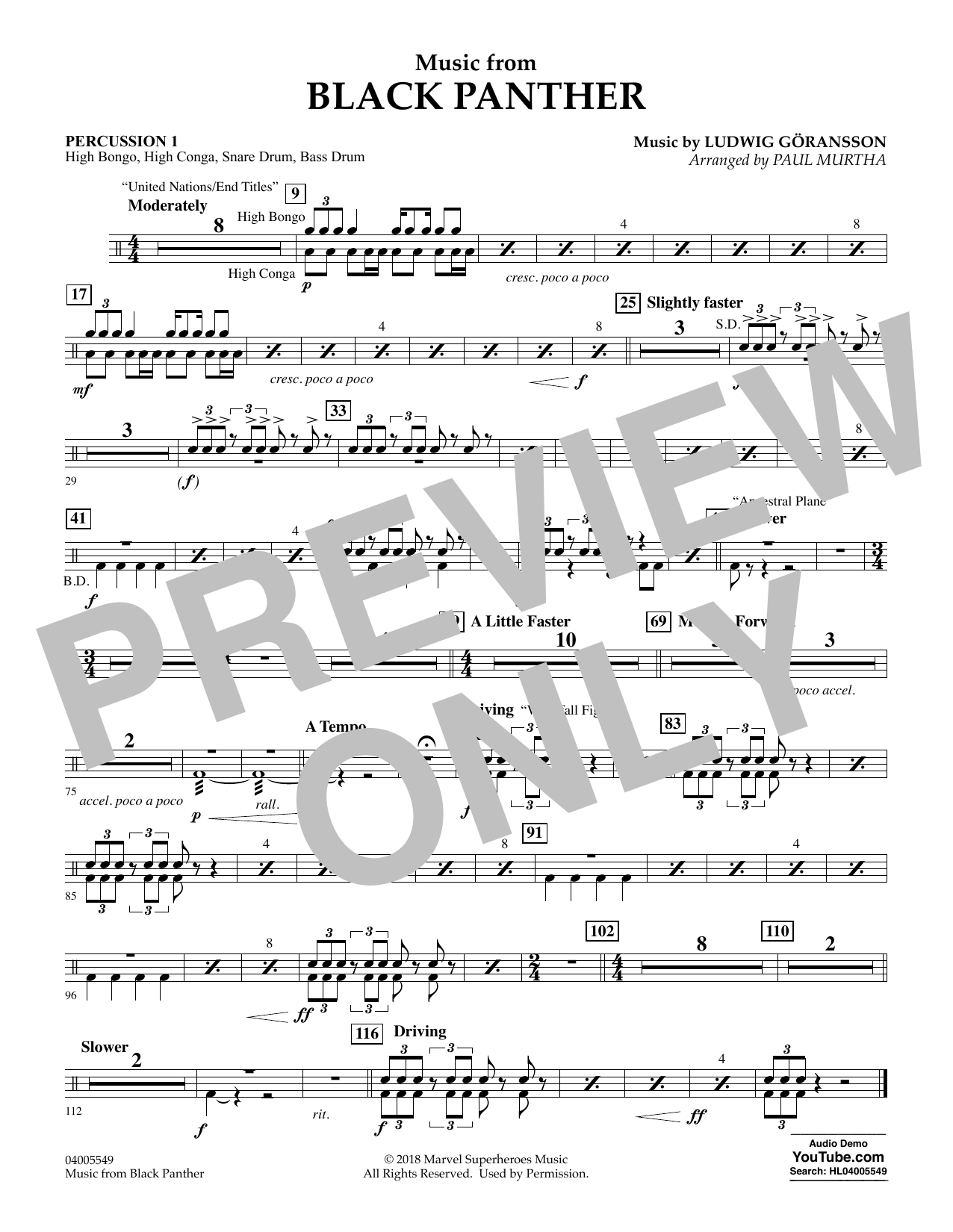 """Music from """"Black Panther"""" - Percussion 1 (Concert Band)"""