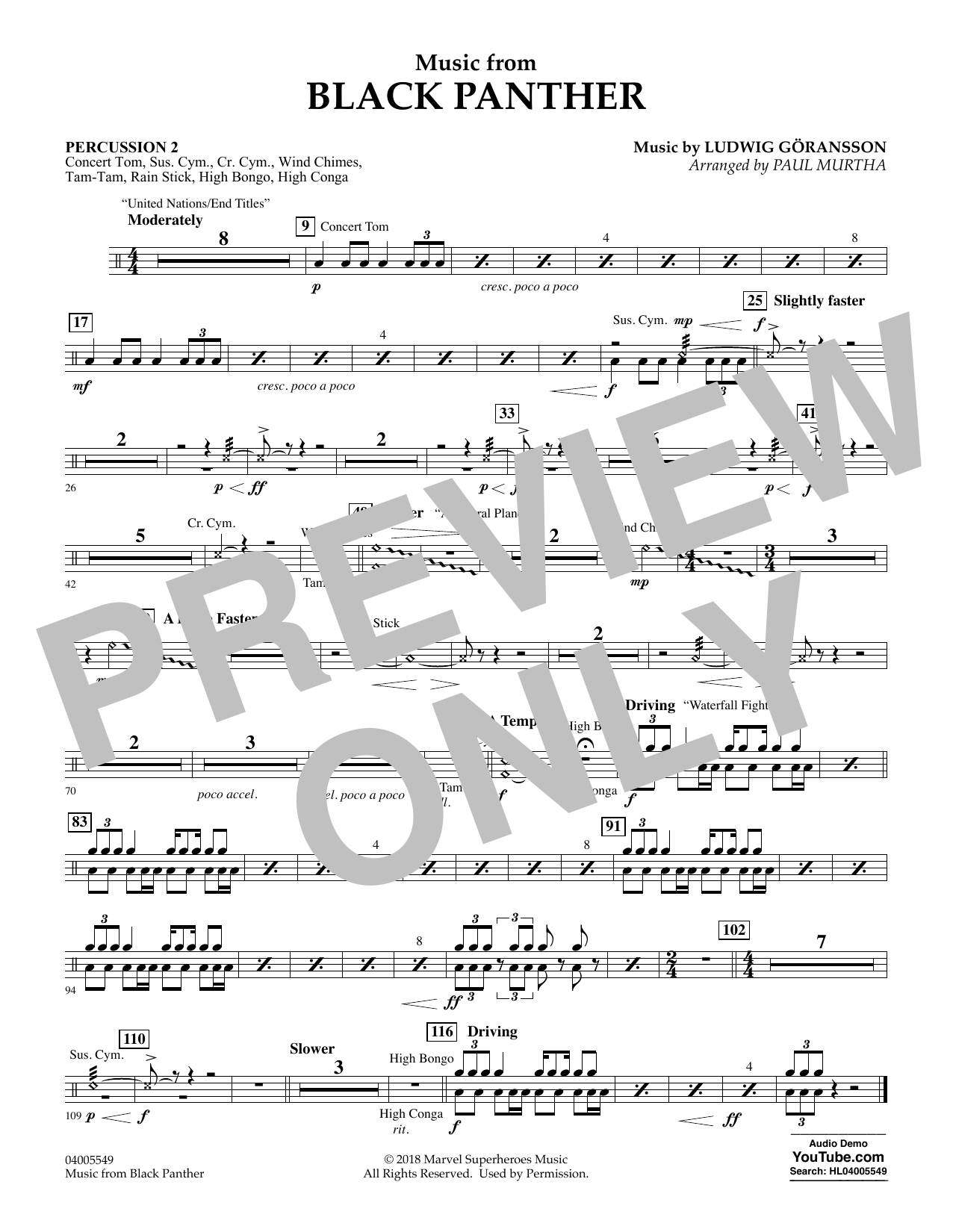 """Music from """"Black Panther"""" - Percussion 2 (Concert Band)"""