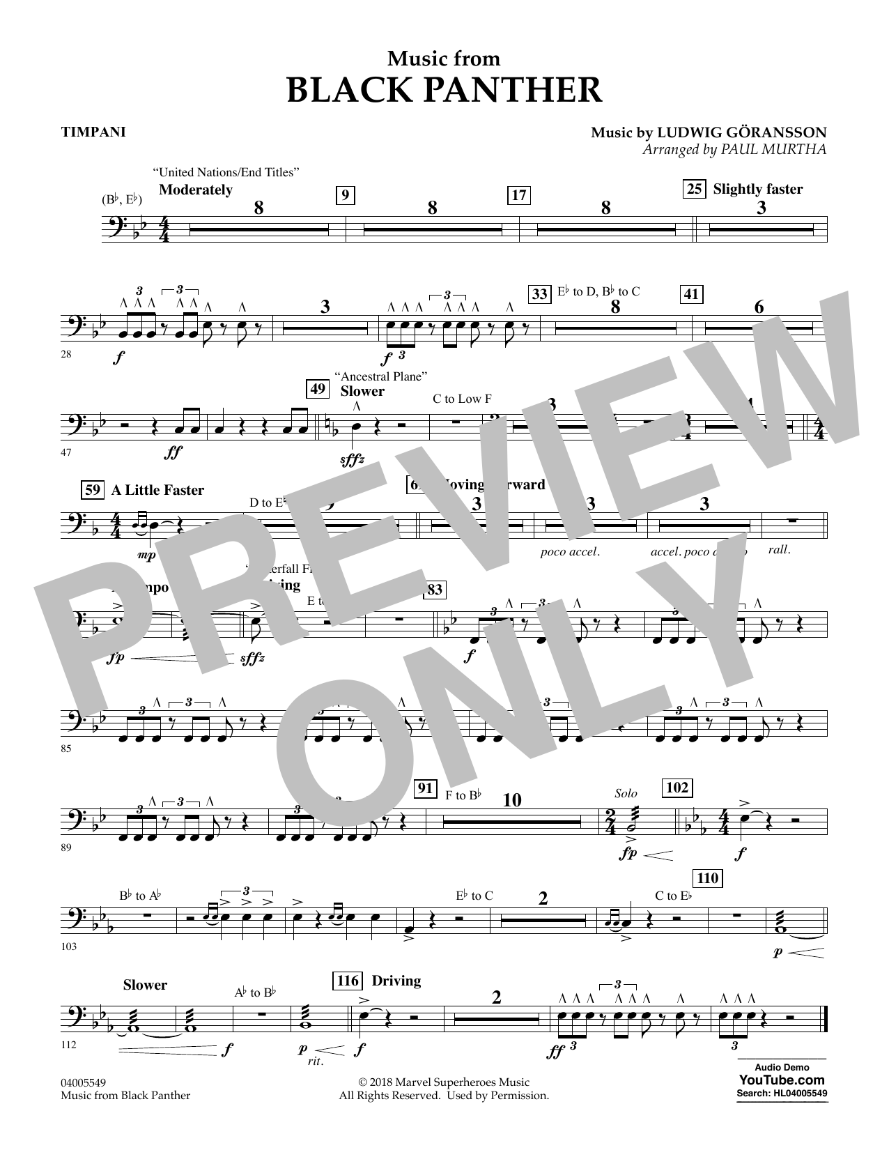 """Music from """"Black Panther"""" - Timpani (Concert Band)"""