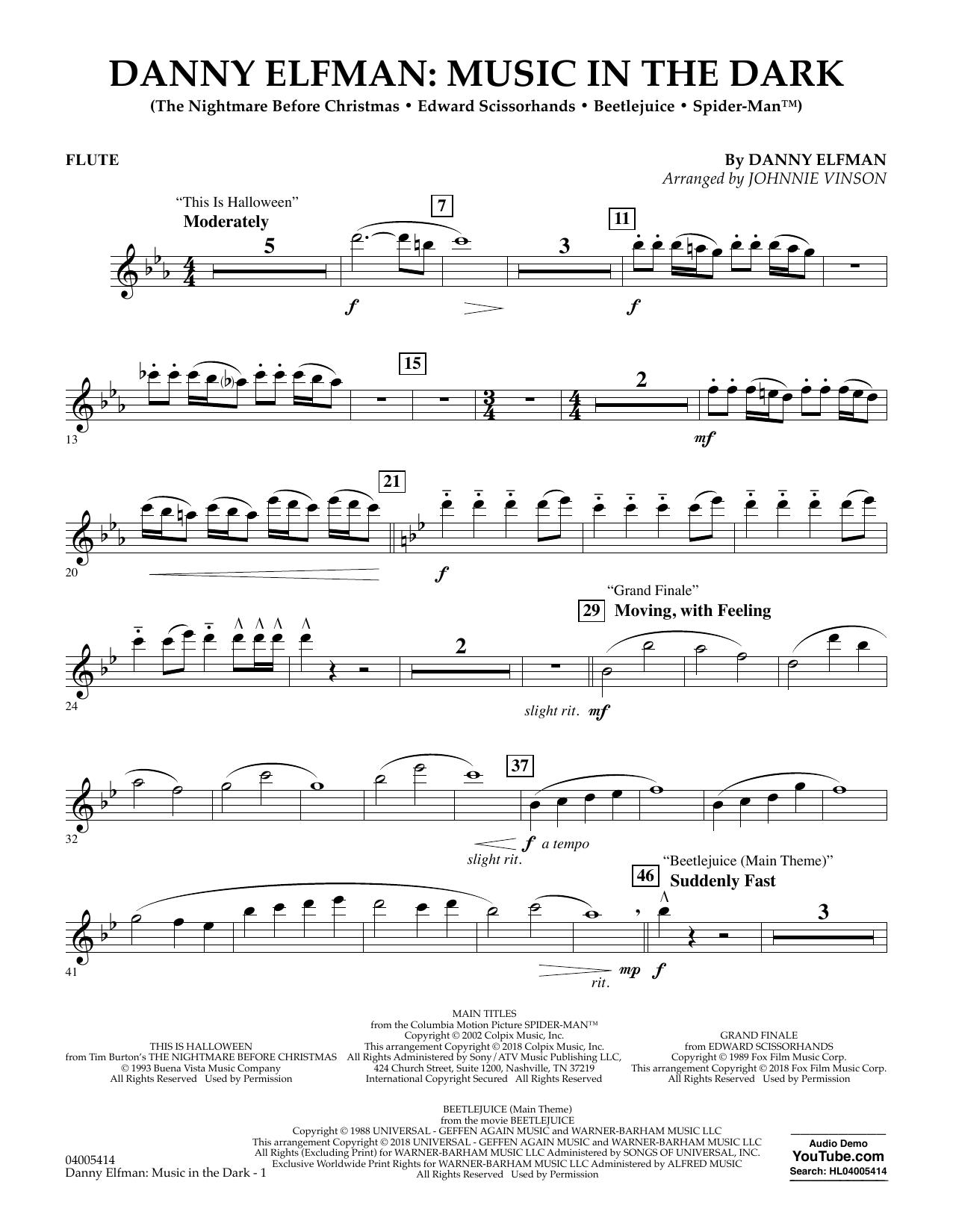 Danny Elfman: Music in the Dark - Flute (Concert Band)
