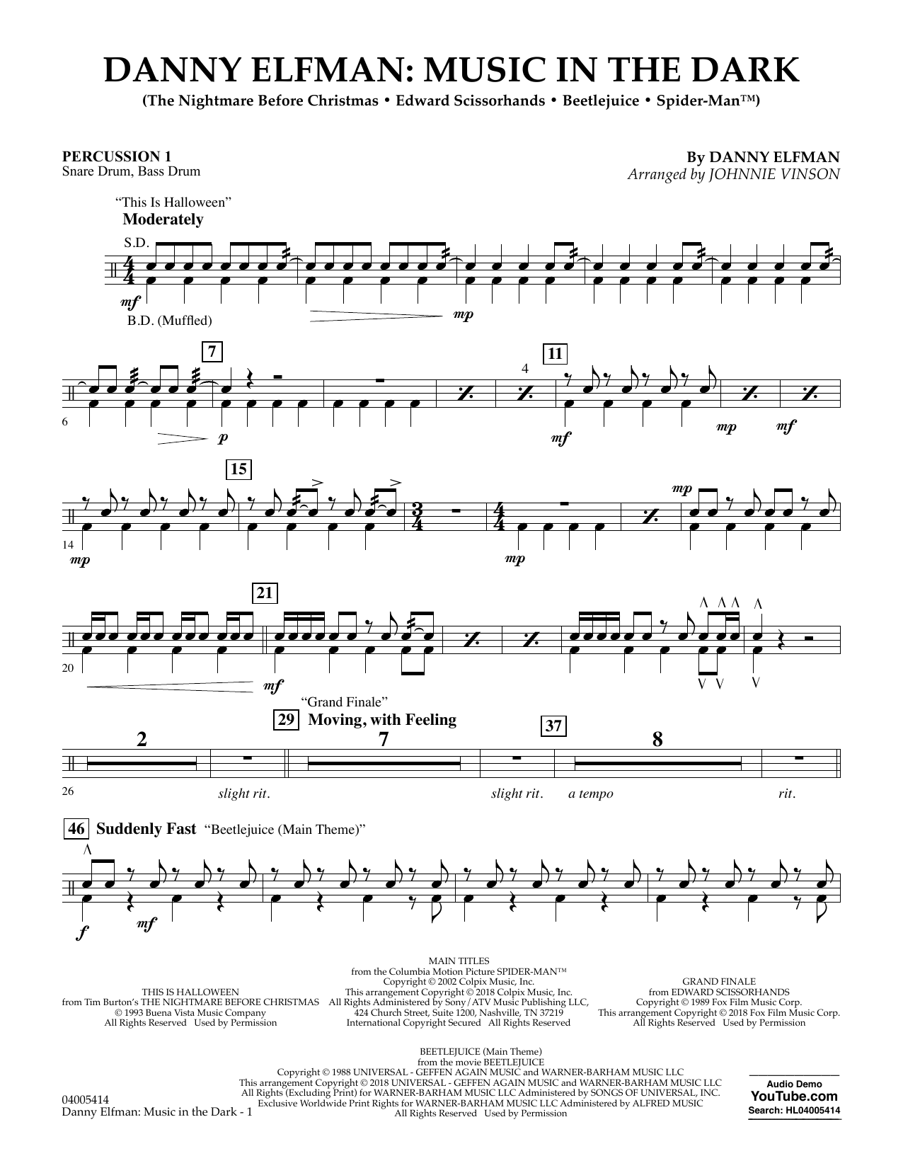 Danny Elfman: Music in the Dark - Percussion 1 (Concert Band)