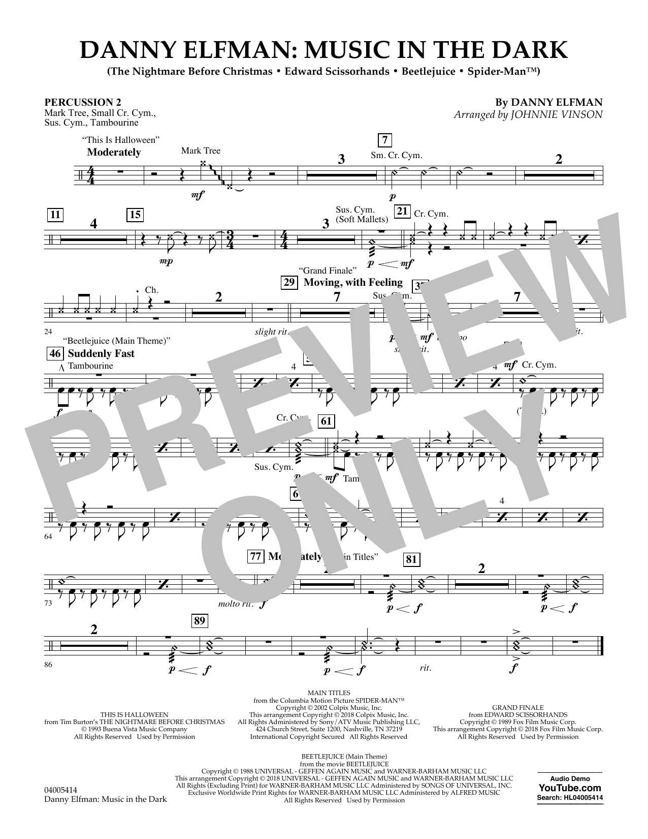 Danny Elfman: Music in the Dark - Percussion 2 (Concert Band)