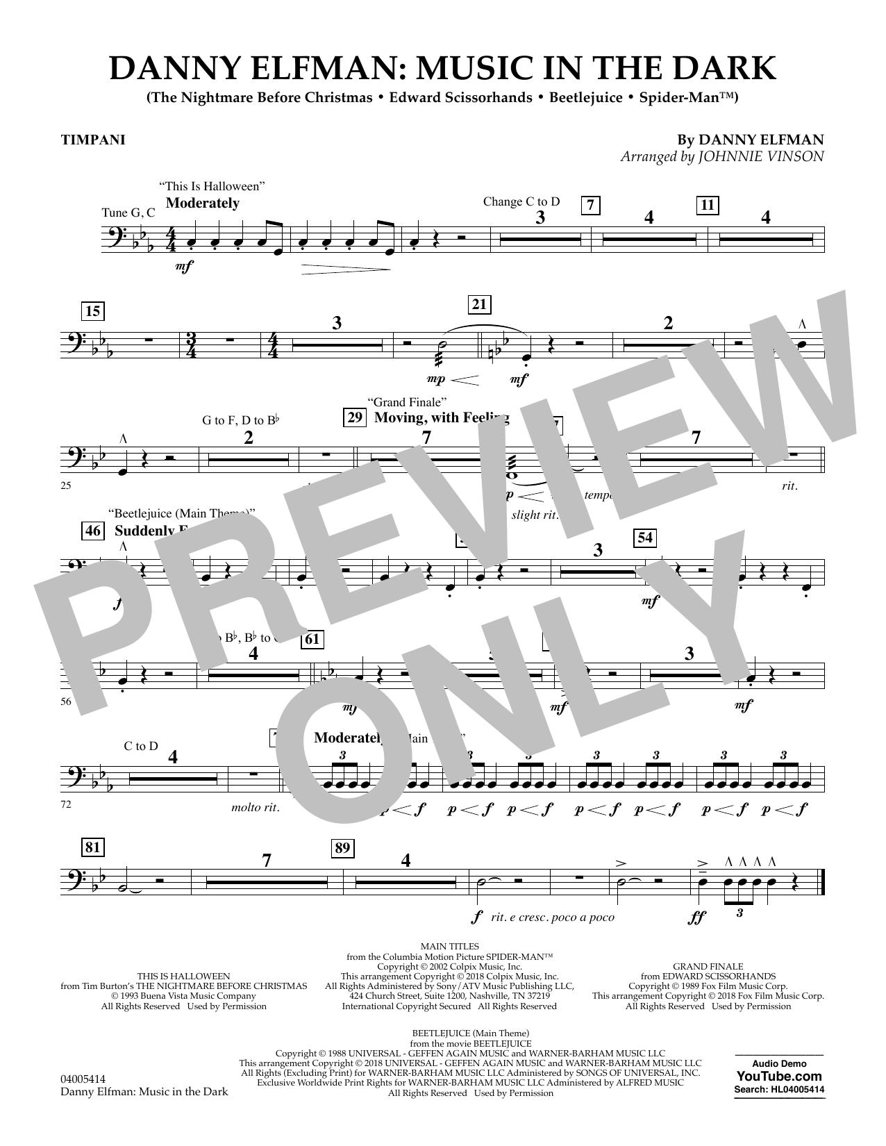 Danny Elfman: Music in the Dark - Timpani (Concert Band)
