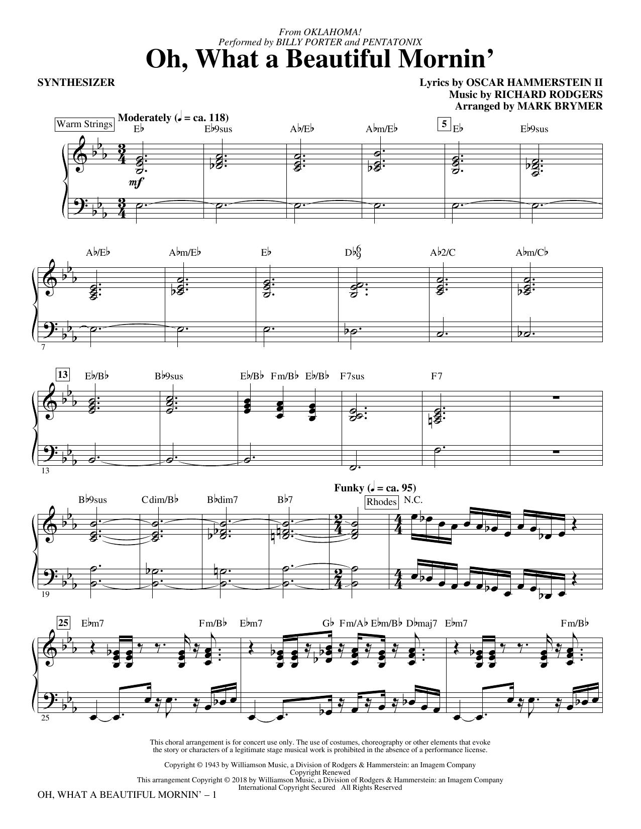 Oh, What a Beautiful Mornin' - Synthesizer (Choir Instrumental Pak)