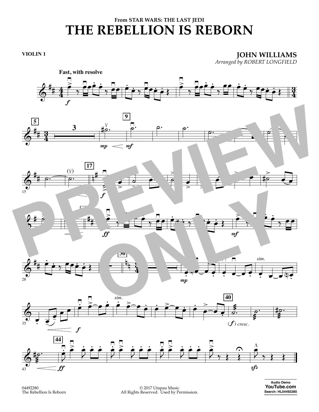 The Rebellion Is Reborn (from Star Wars: The Last Jedi) - Violin 1 (Orchestra)