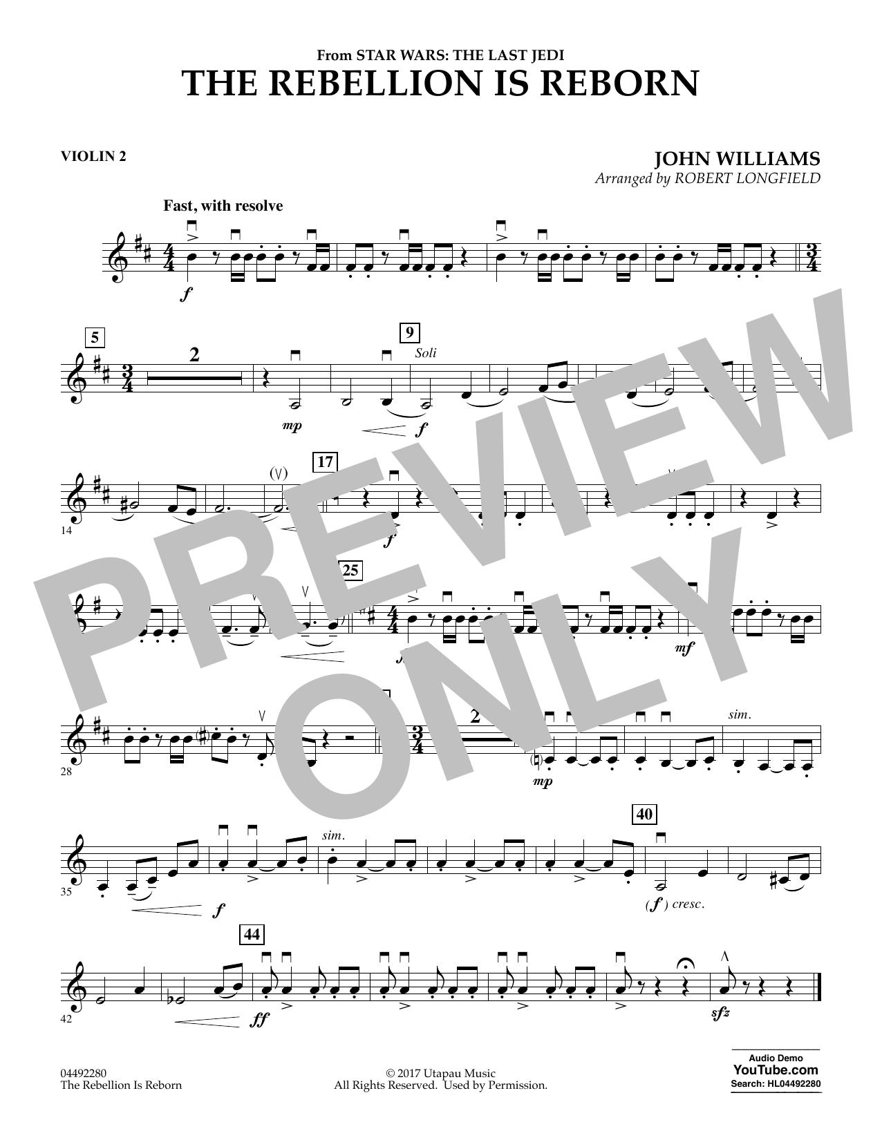 The Rebellion Is Reborn (from Star Wars: The Last Jedi) - Violin 2 (Orchestra)