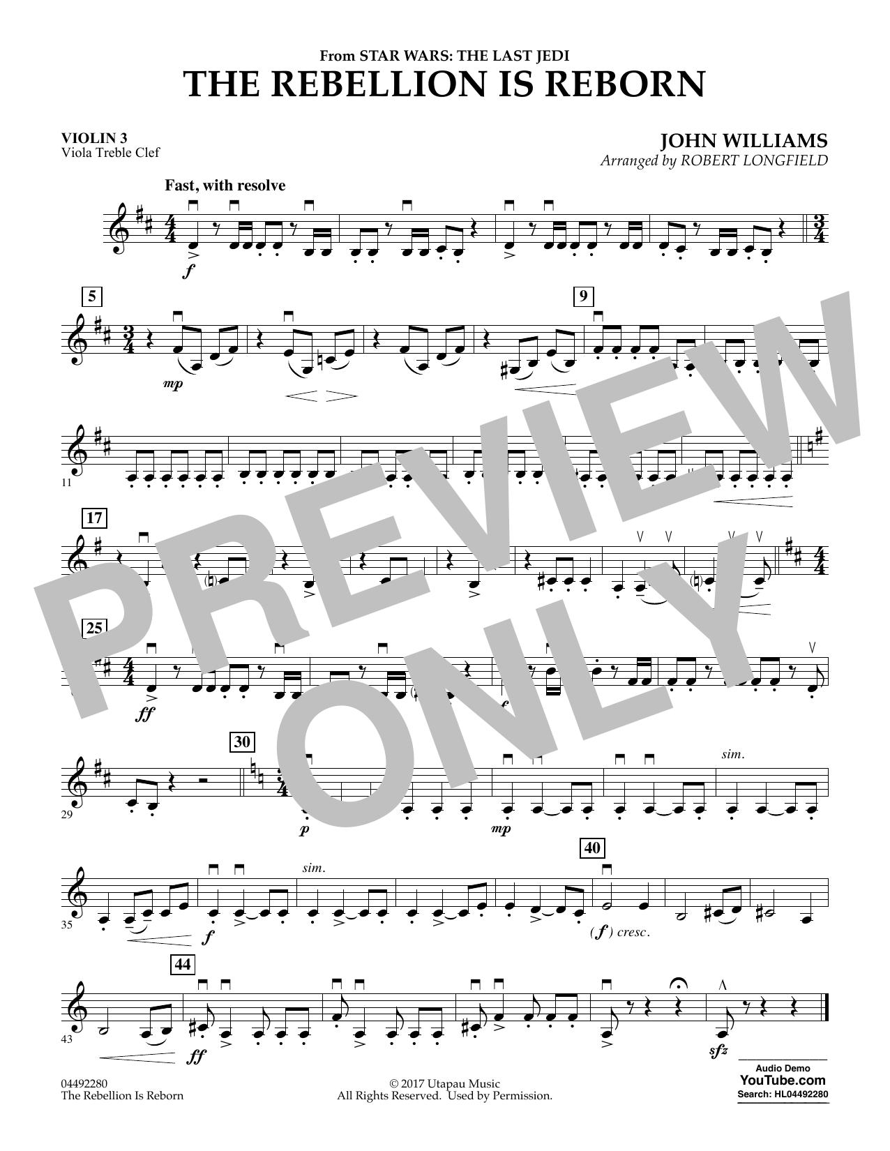 The Rebellion Is Reborn (from Star Wars: The Last Jedi) - Violin 3 (Viola T.C.) (Orchestra)