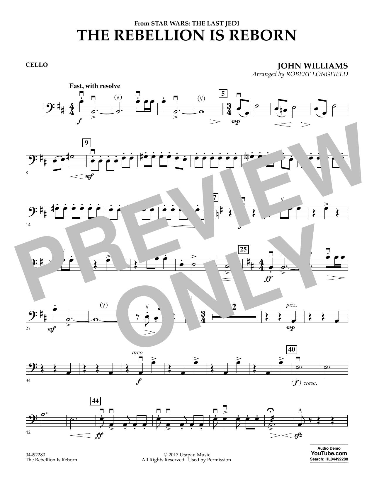 The Rebellion Is Reborn (from Star Wars: The Last Jedi) - Cello (Orchestra)