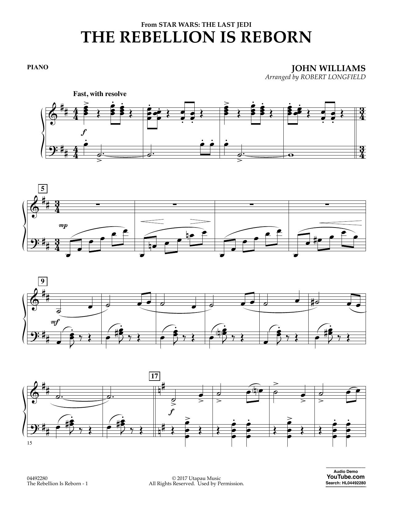 The Rebellion Is Reborn (from Star Wars: The Last Jedi) - Piano (Orchestra)