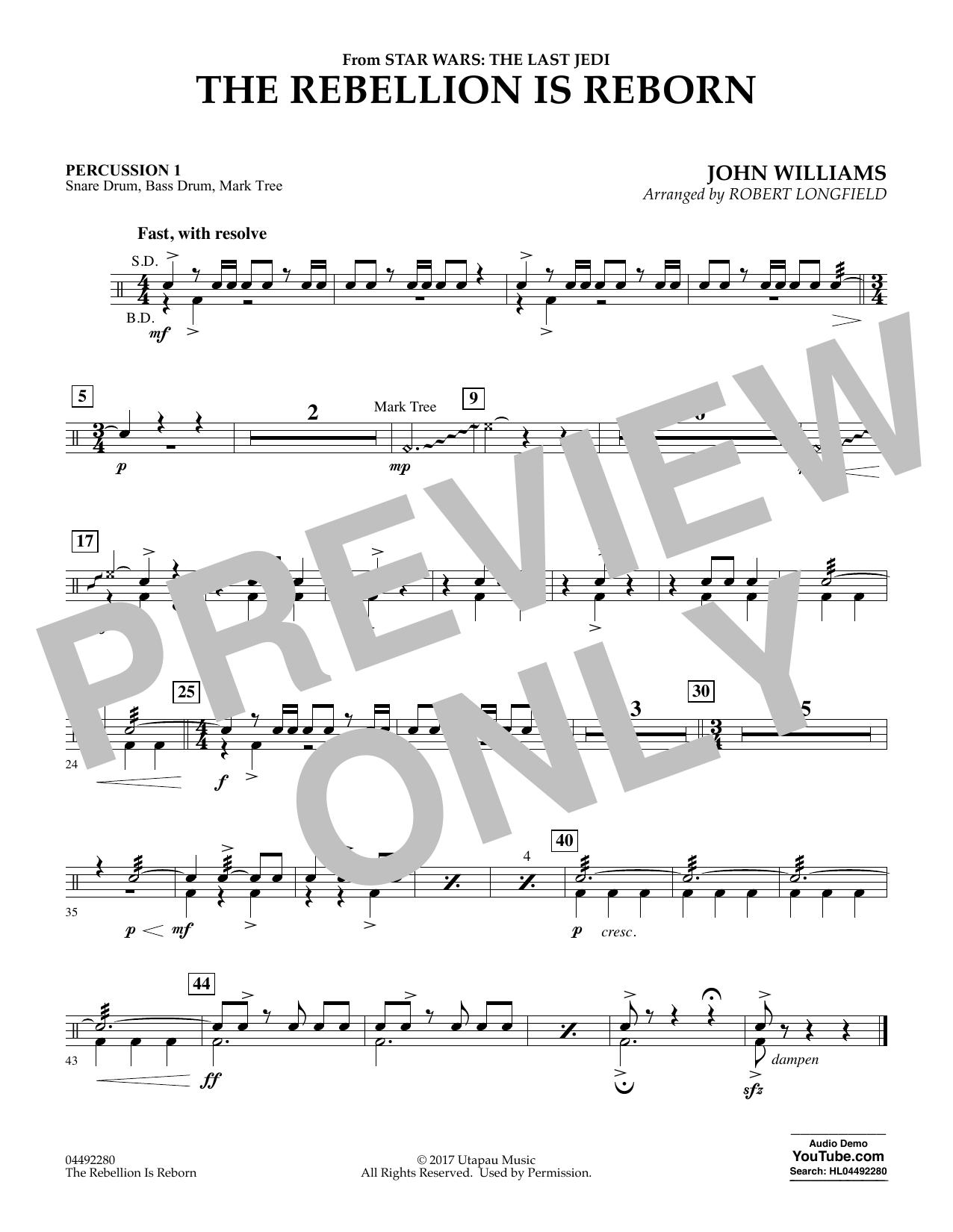 The Rebellion Is Reborn (from Star Wars: The Last Jedi) - Percussion 1 (Orchestra)