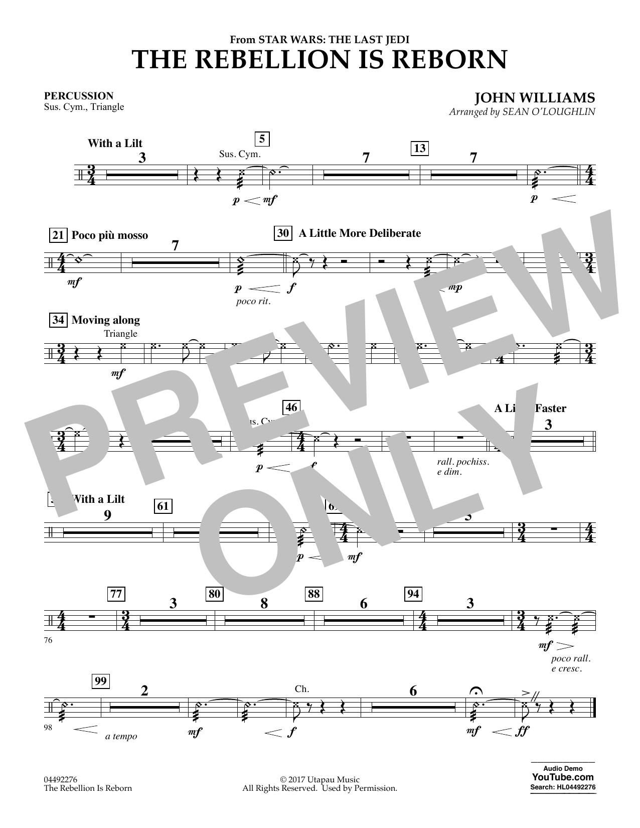 The Rebellion Is Reborn (from Star Wars: The Last Jedi) - Percussion (Orchestra)