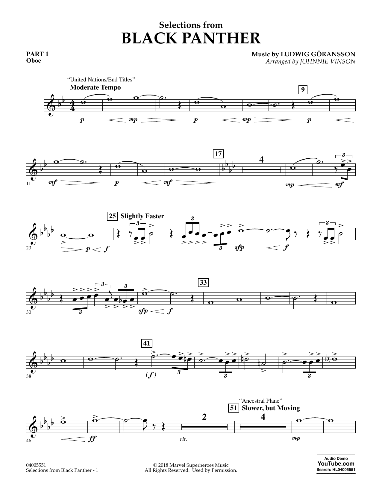 Selections from Black Panther - Pt.1 - Oboe (Flex-Band)