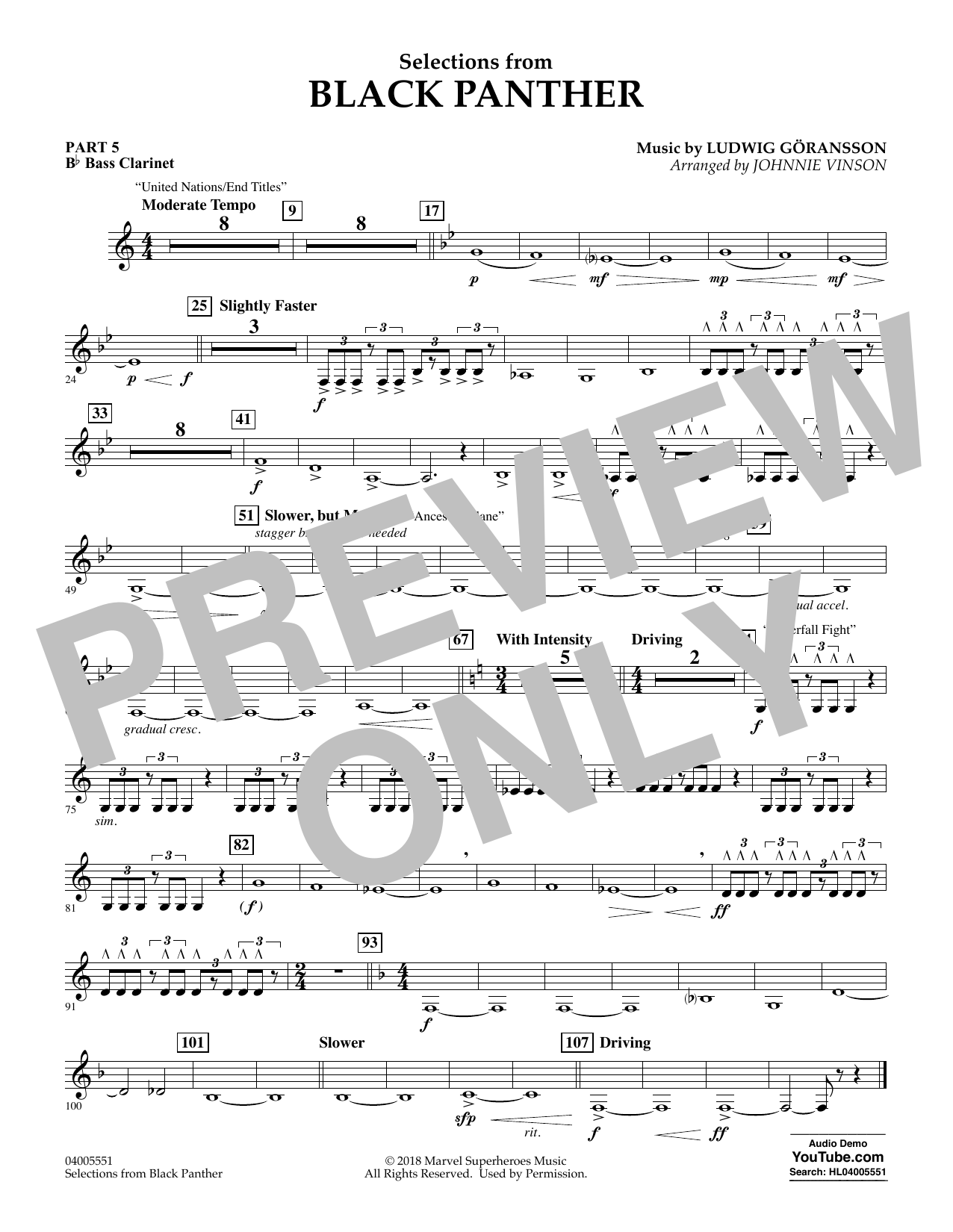 Selections from Black Panther - Pt.5 - Bb Bass Clarinet (Flex-Band)