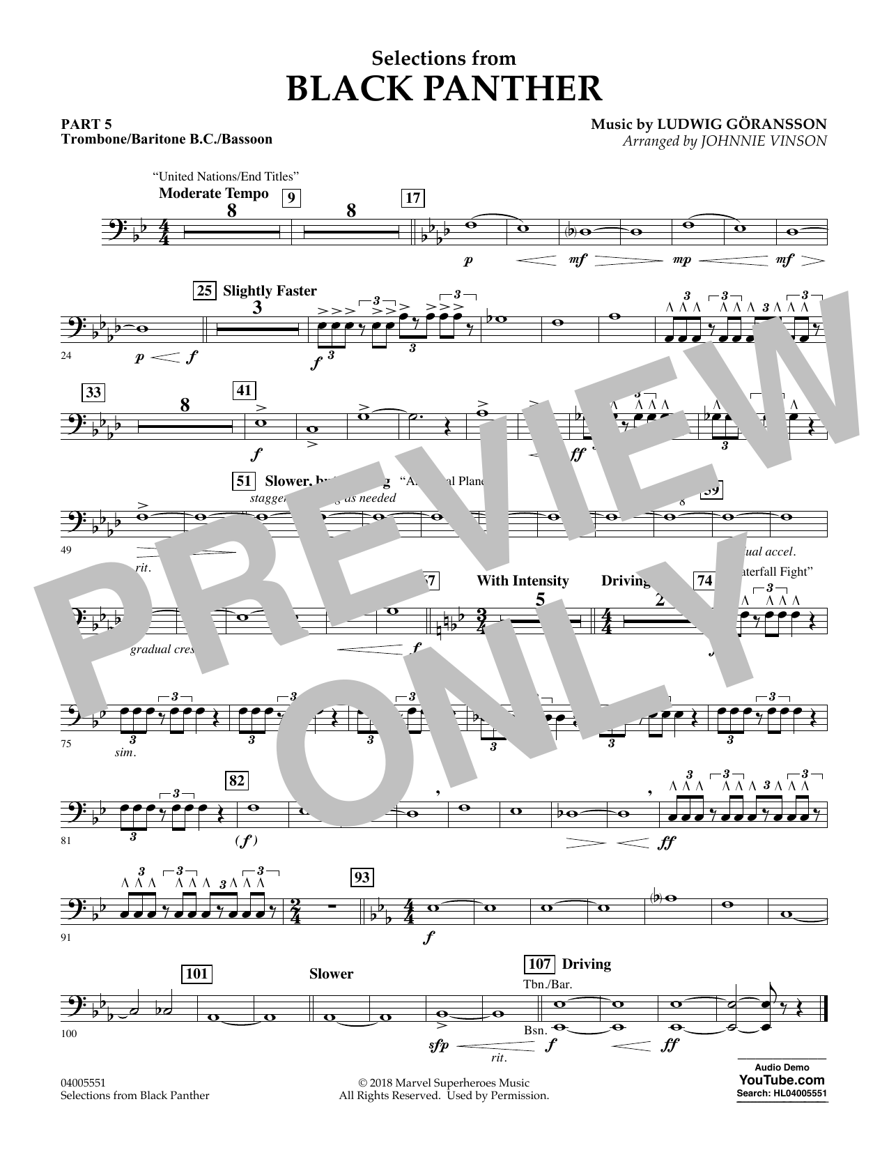 Selections from Black Panther - Pt.5 - Trombone/Bar. B.C./Bsn. (Flex-Band)