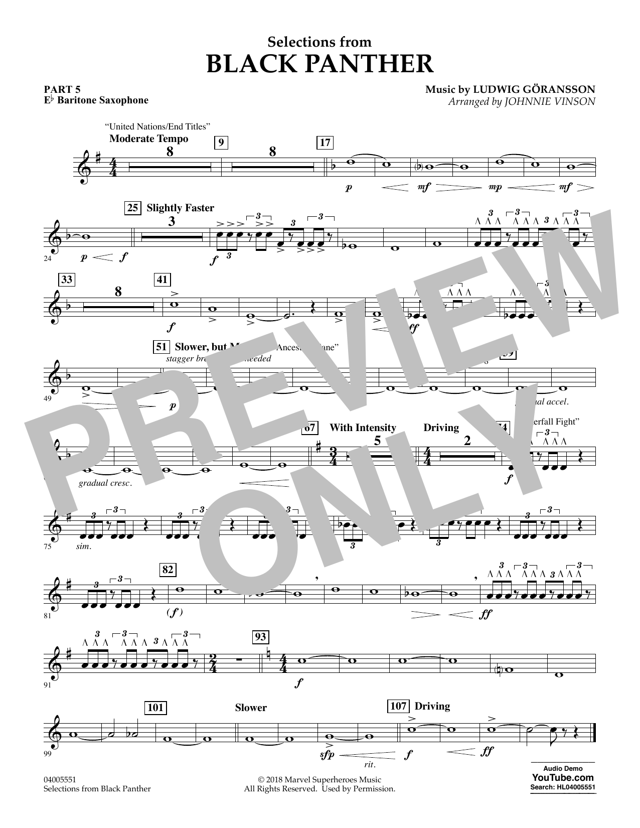 Selections from Black Panther - Pt.5 - Eb Baritone Saxophone (Flex-Band)