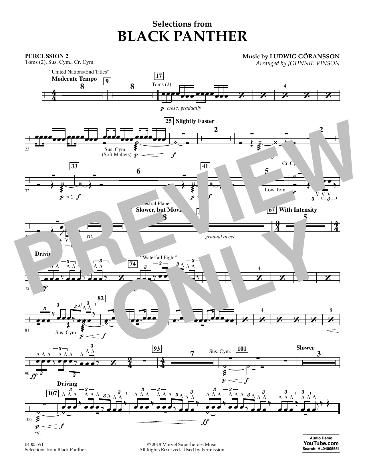 Selections from Black Panther - Percussion 2 (Flex-Band)