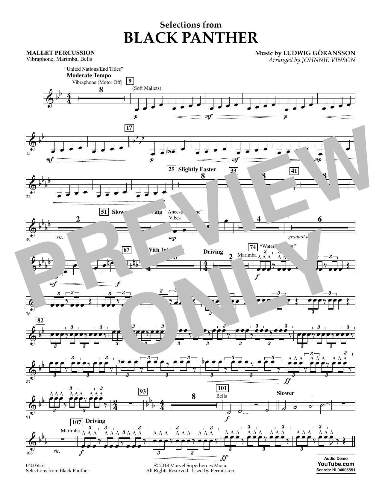 Selections from Black Panther - Mallet Percussion (Flex-Band)