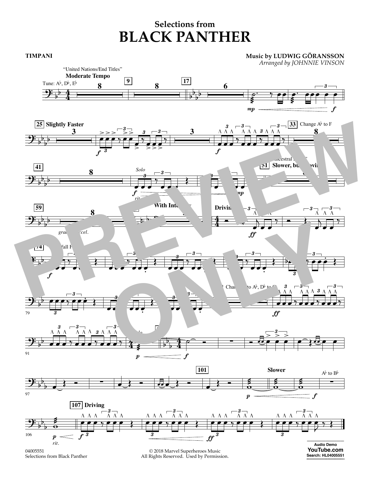 Selections from Black Panther - Timpani (Flex-Band)