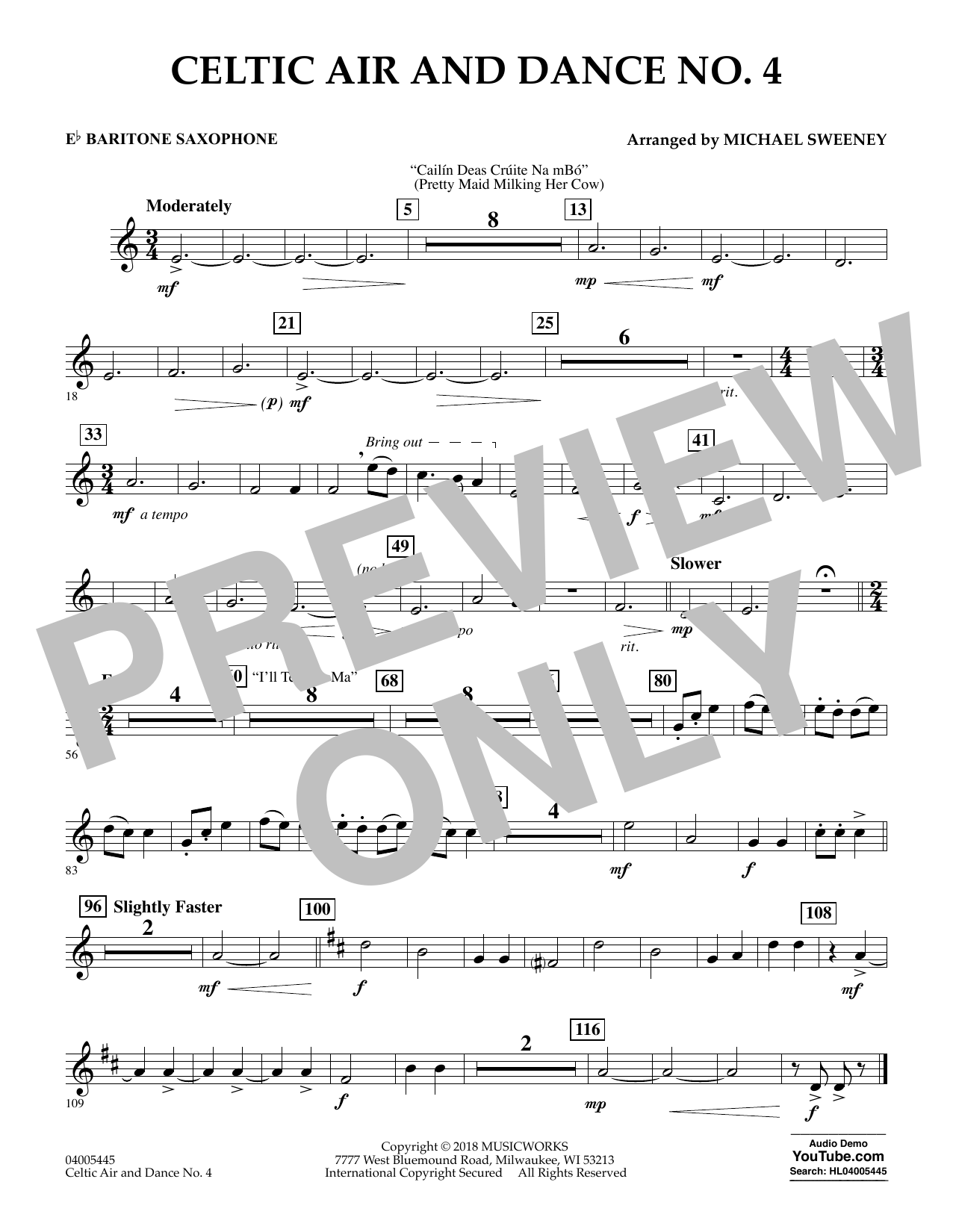 Celtic Air and Dance No. 4 - Eb Baritone Saxophone (Concert Band)